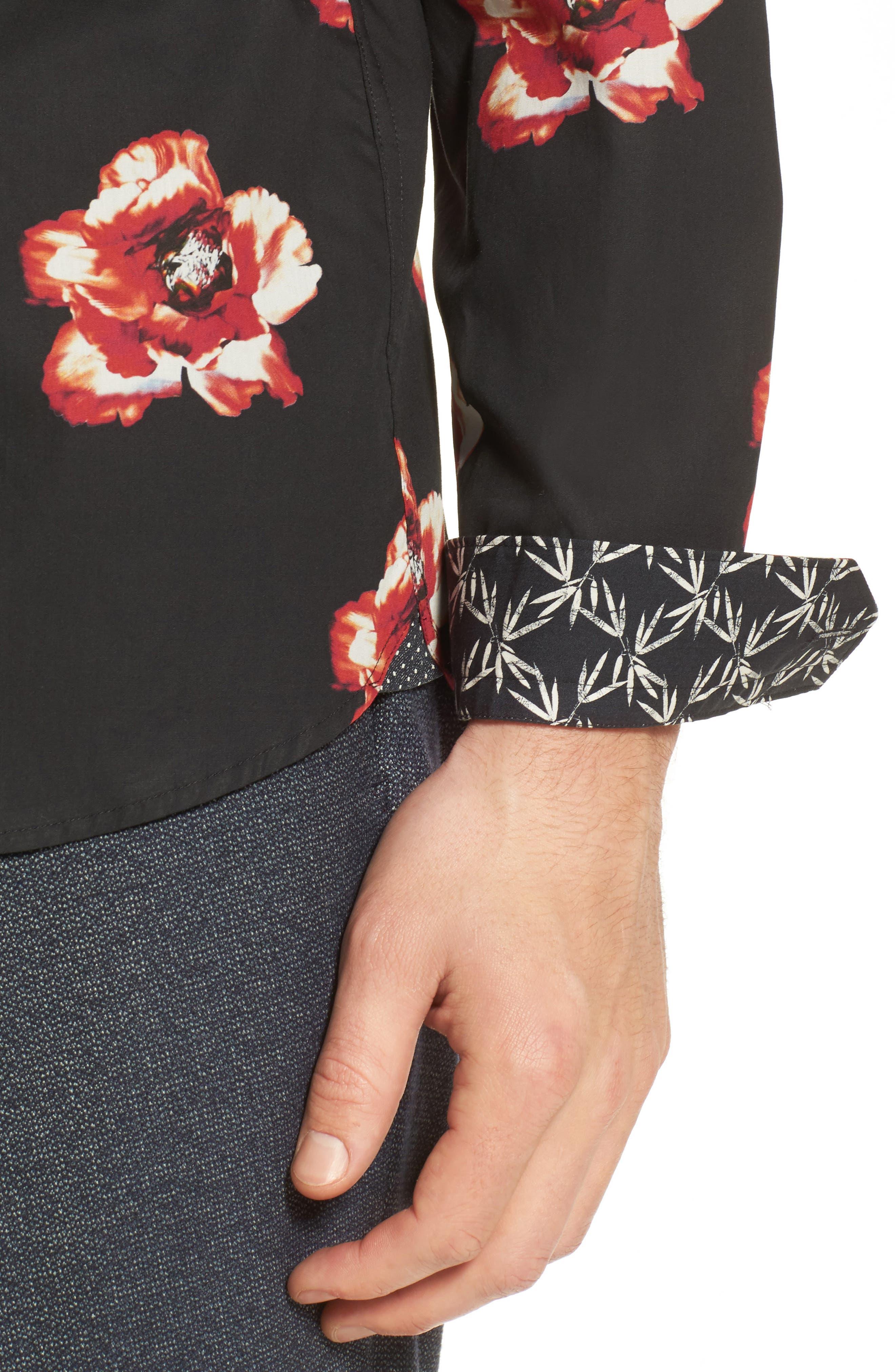 Lilky Trim Fit Floral Sport Shirt,                             Alternate thumbnail 4, color,