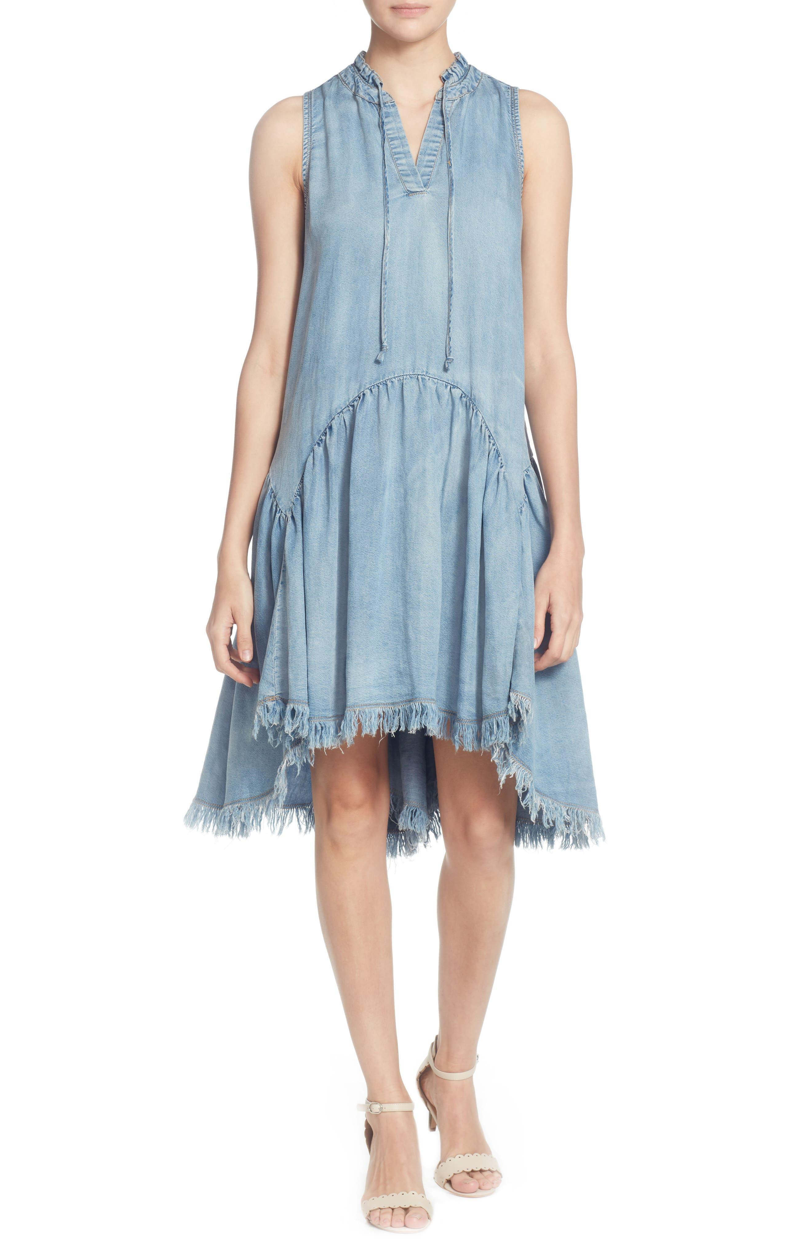 Catherine Catherine Malandrino Keala Dropwaist Chambray Dress, Blue