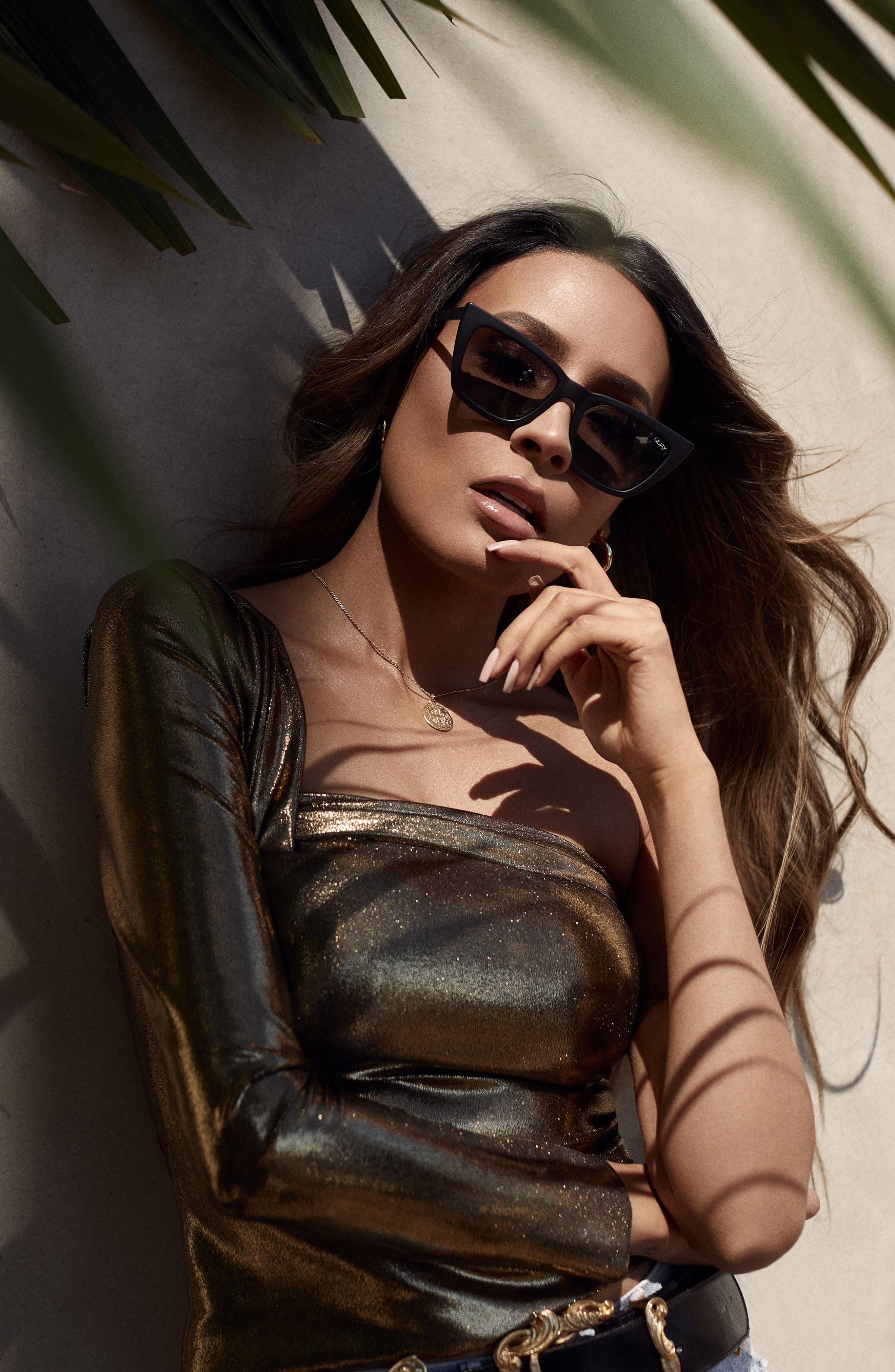 x Desi Perkins Don't @ Me 48mm Cat Eye Sunglasses,                             Alternate thumbnail 5, color,                             BLACK/ SMOKE