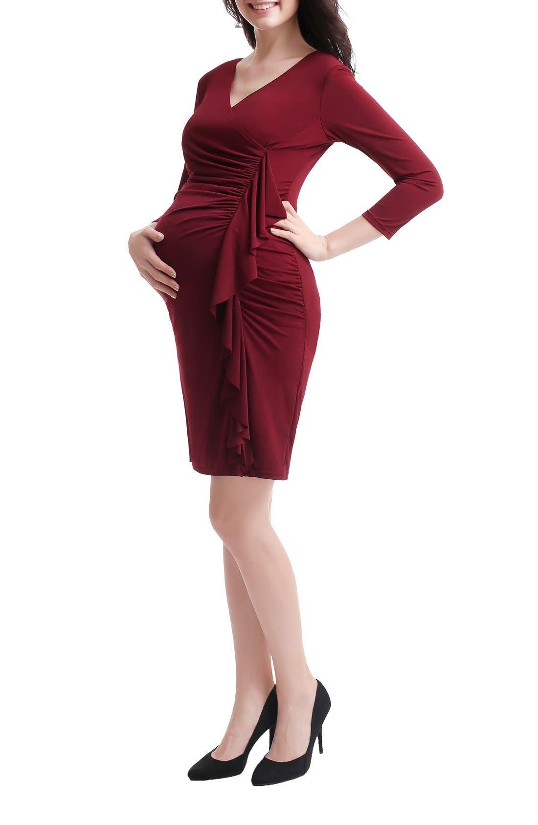 Gypsy Ruffle Maternity Dress,                             Alternate thumbnail 8, color,