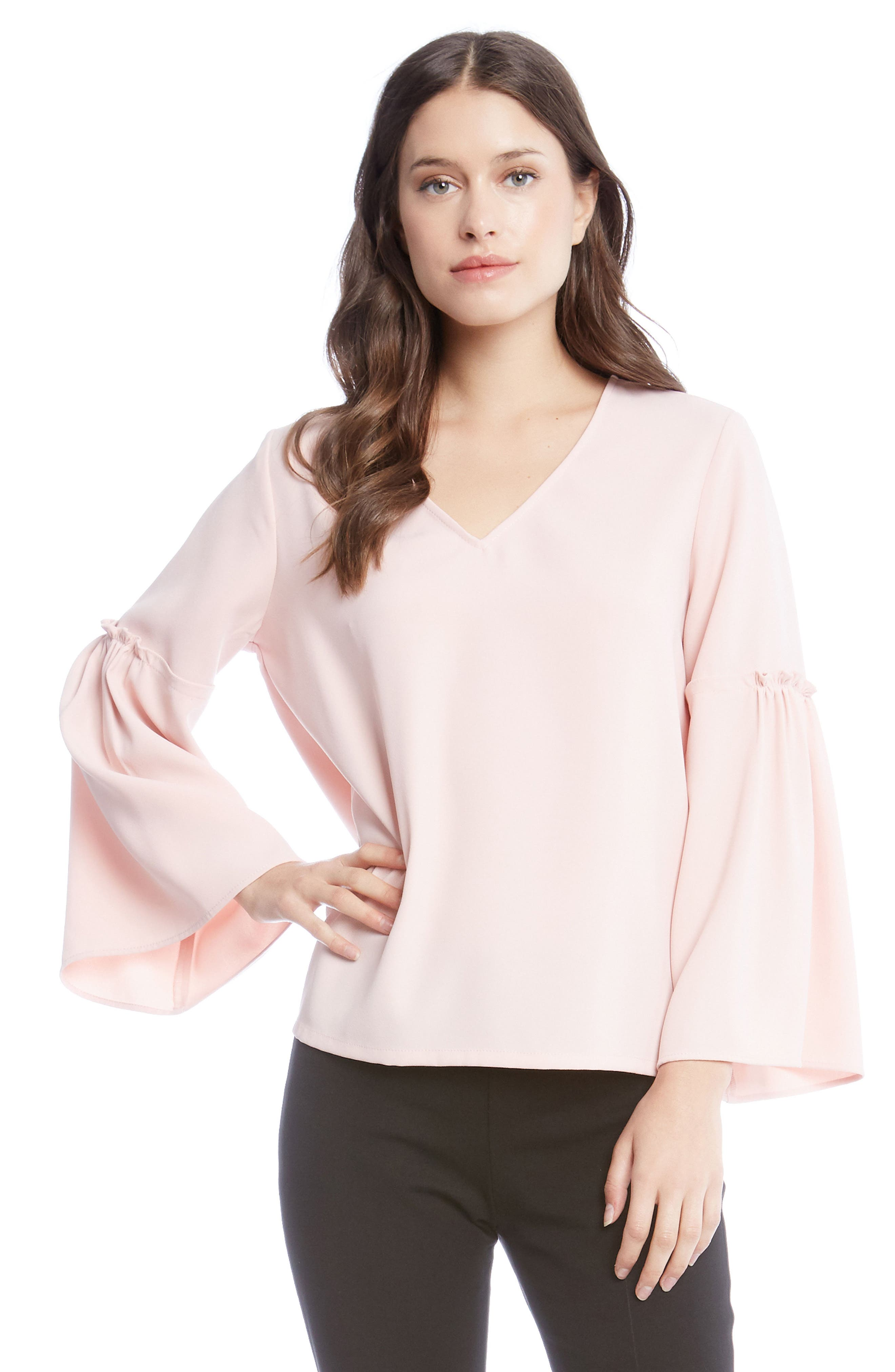 Bell Sleeve Crepe Top,                             Alternate thumbnail 5, color,