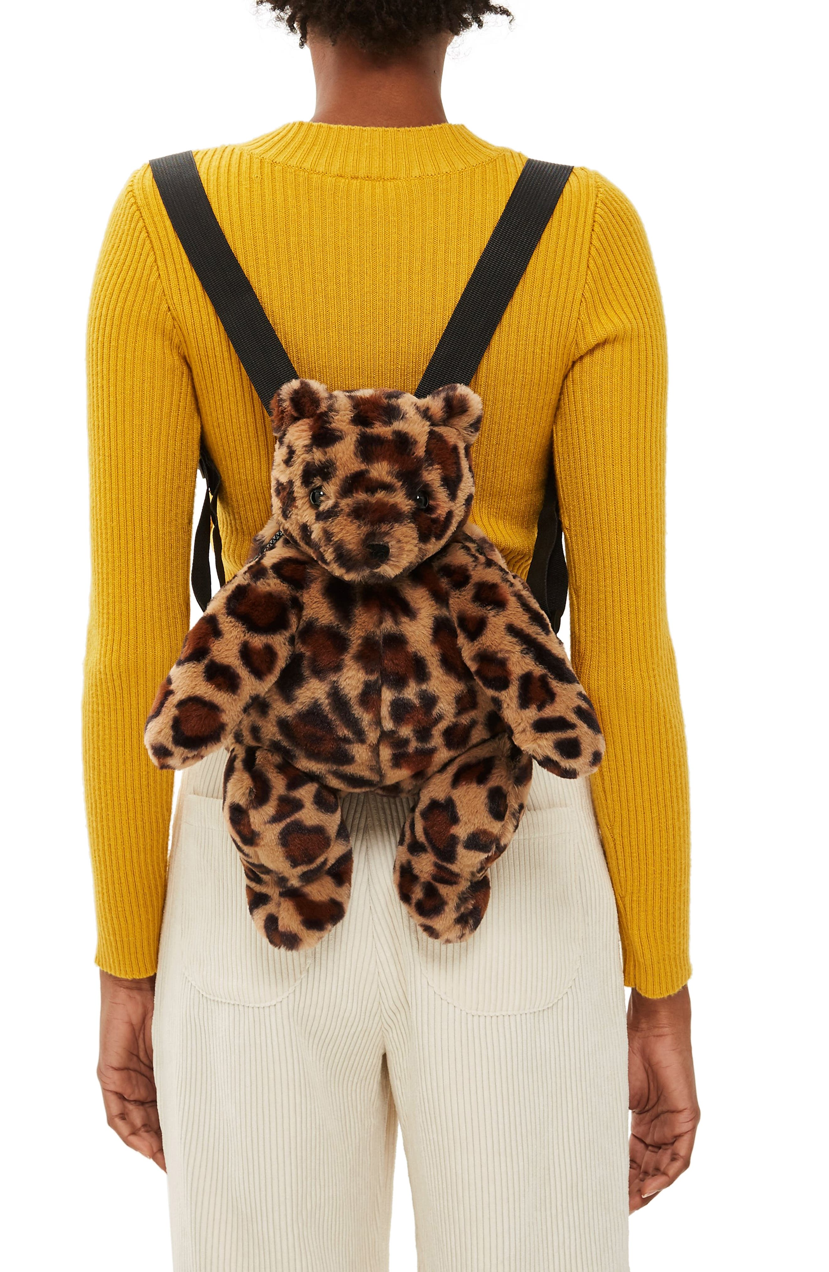 Faux Fur Teddy Bear Backpack,                             Alternate thumbnail 2, color,                             LEOPARD