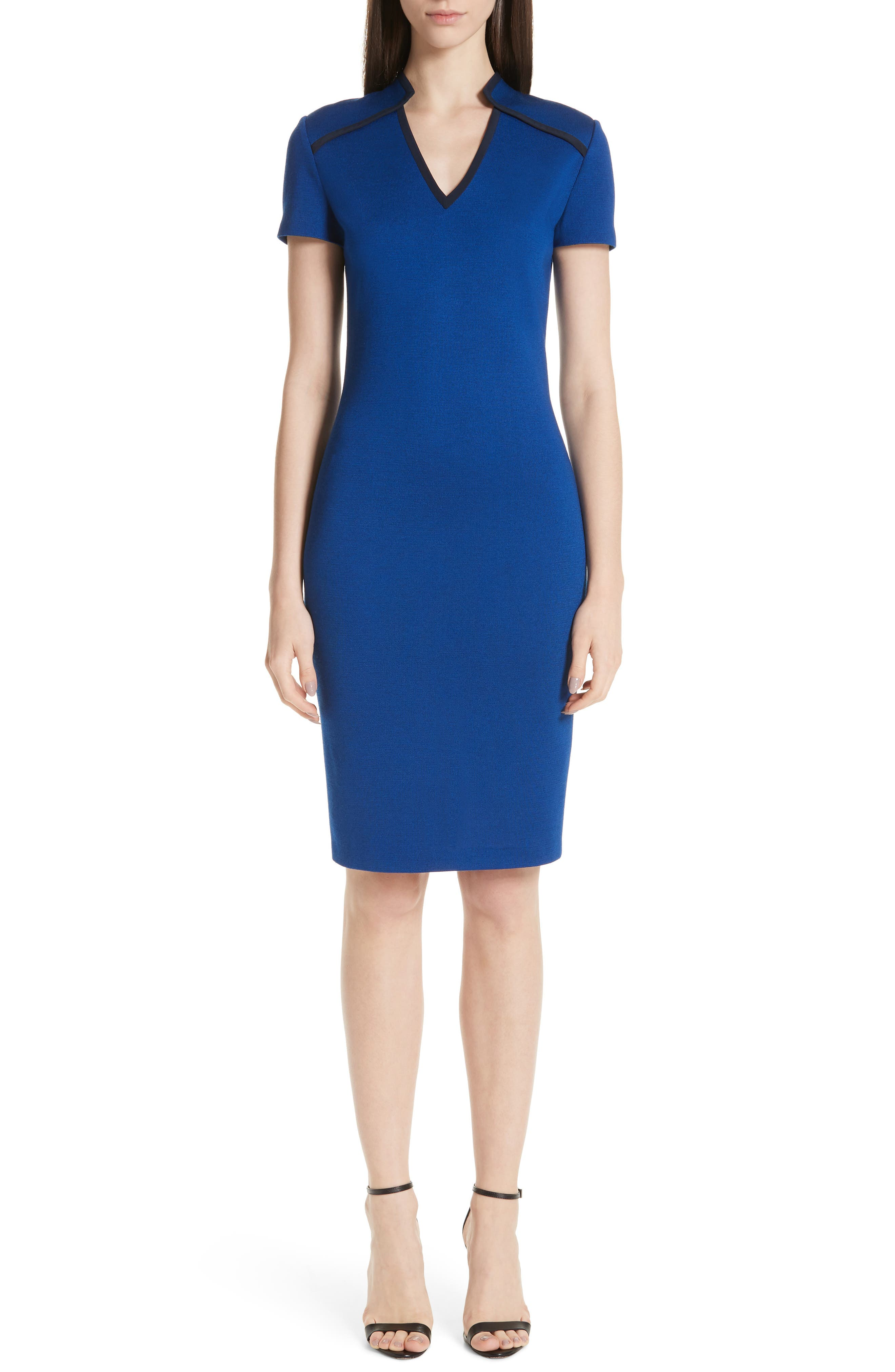 St. John Collection V-Neck Milano Knit Dress, Blue