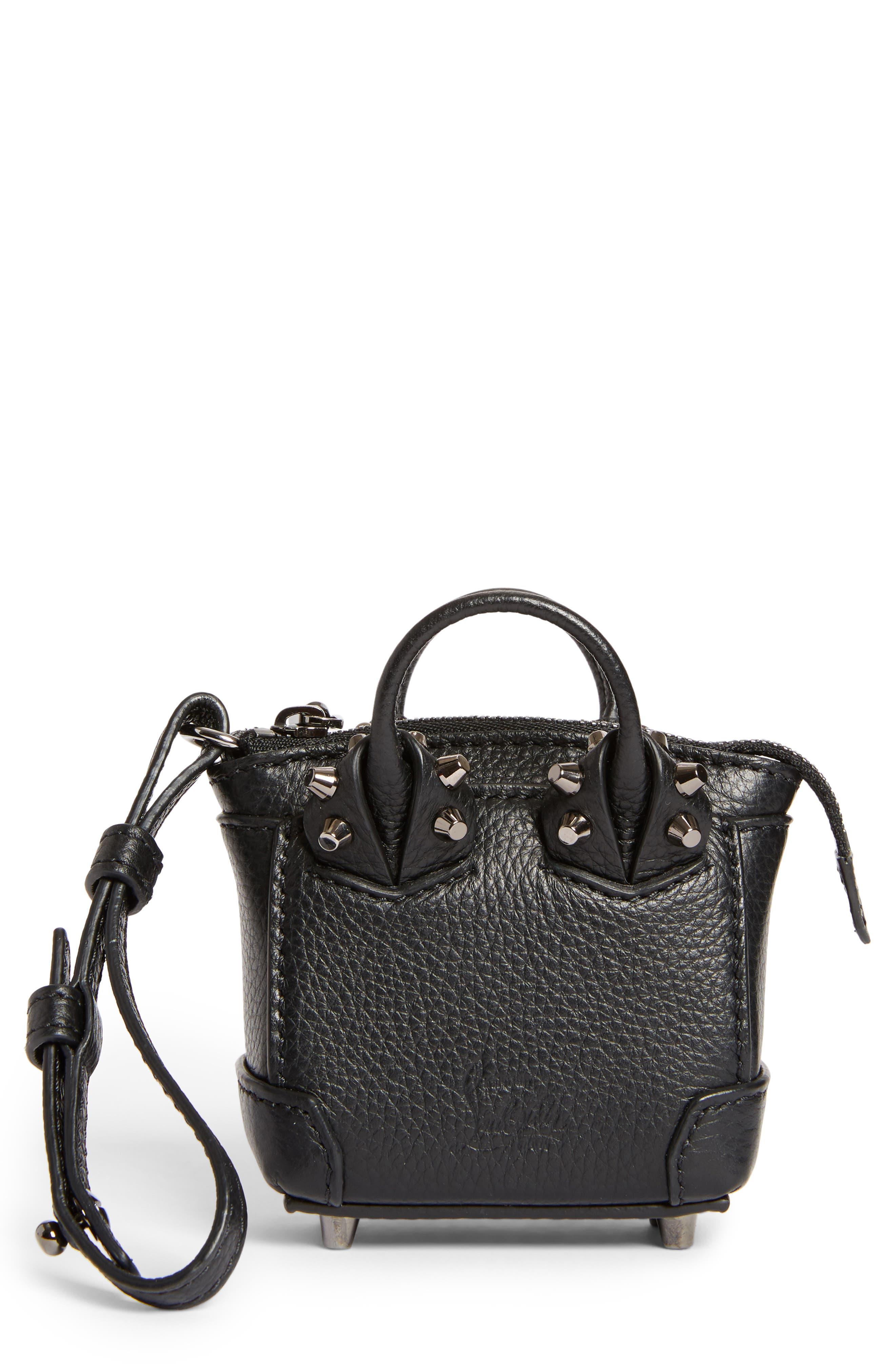 Eloise Mini Leather Bag Charm,                             Main thumbnail 1, color,                             BLACK/ GUN METAL