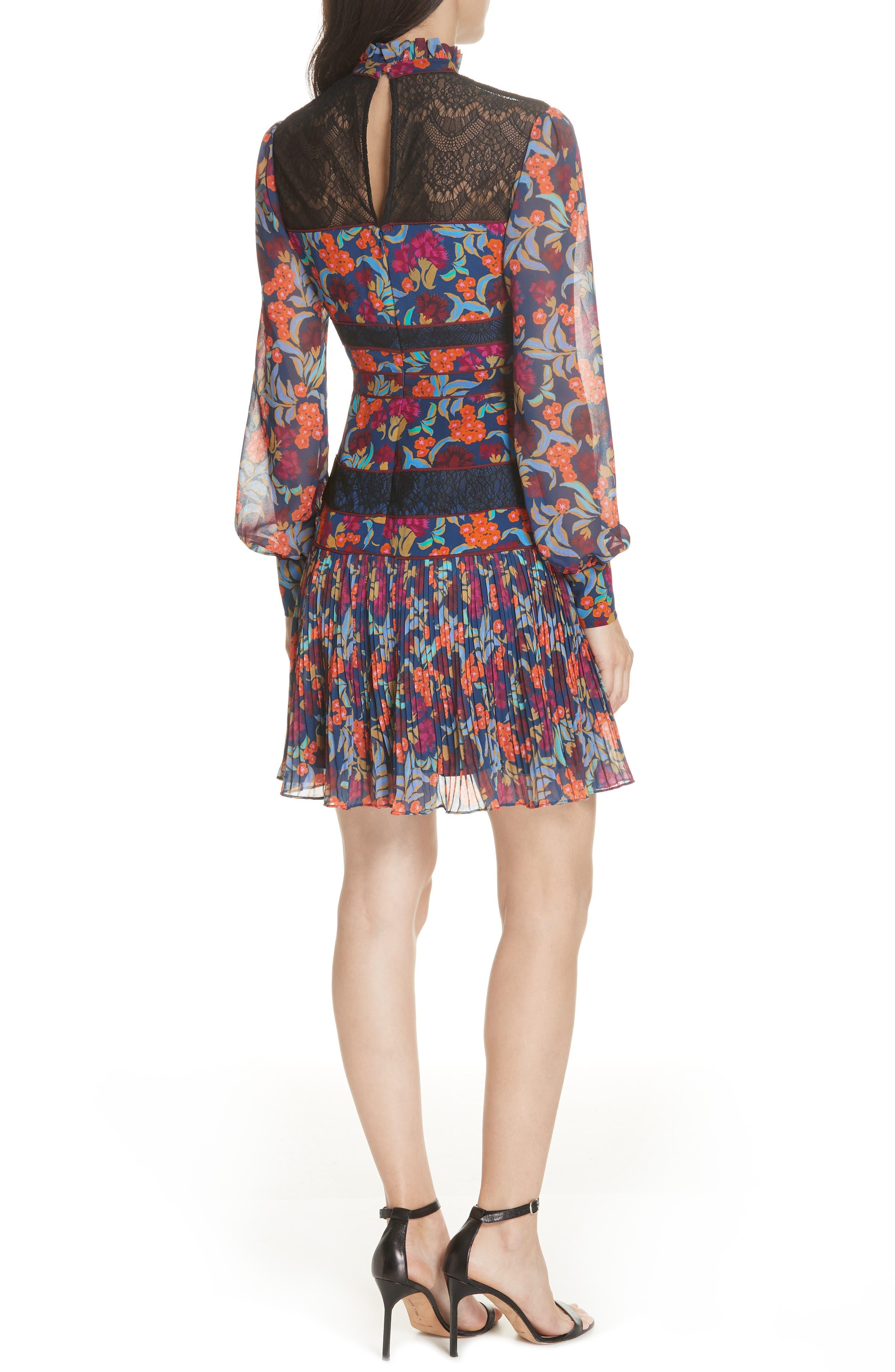 Dina Lace Inset Floral Print Dress,                             Alternate thumbnail 2, color,                             TROPICAL HYDRANGEA