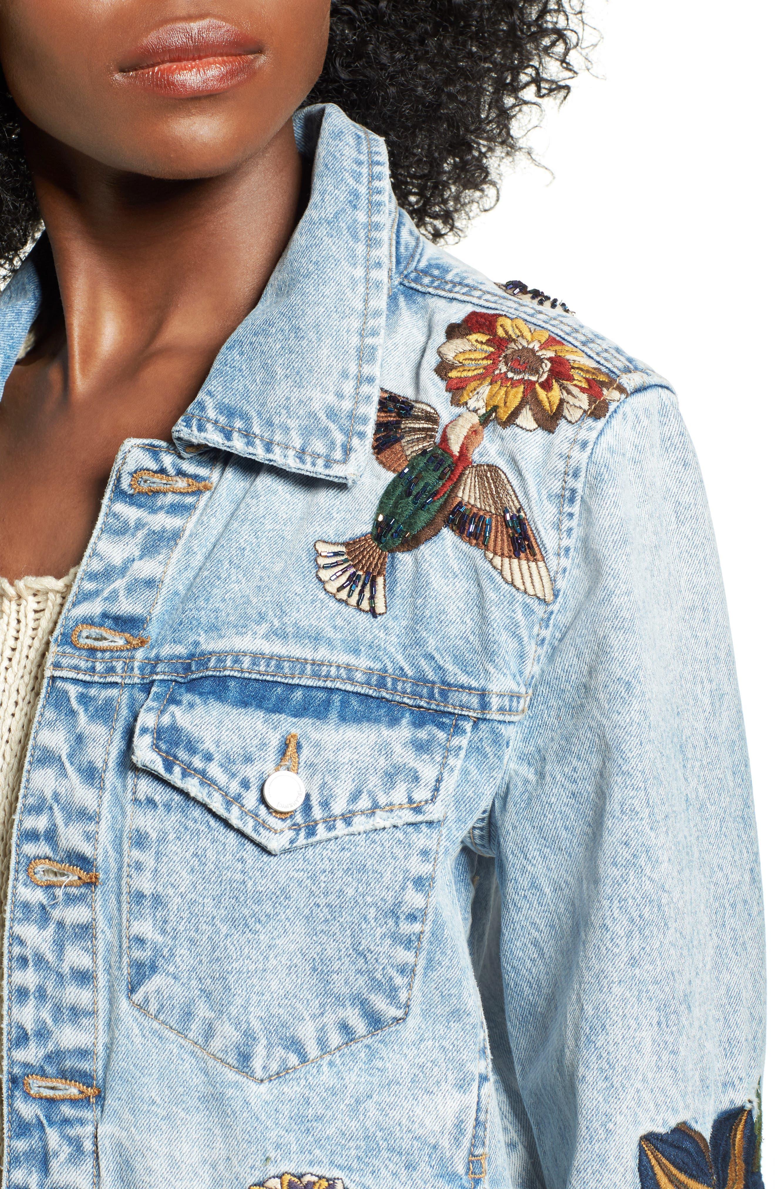 Embroidered Denim Jacket,                             Alternate thumbnail 4, color,                             400