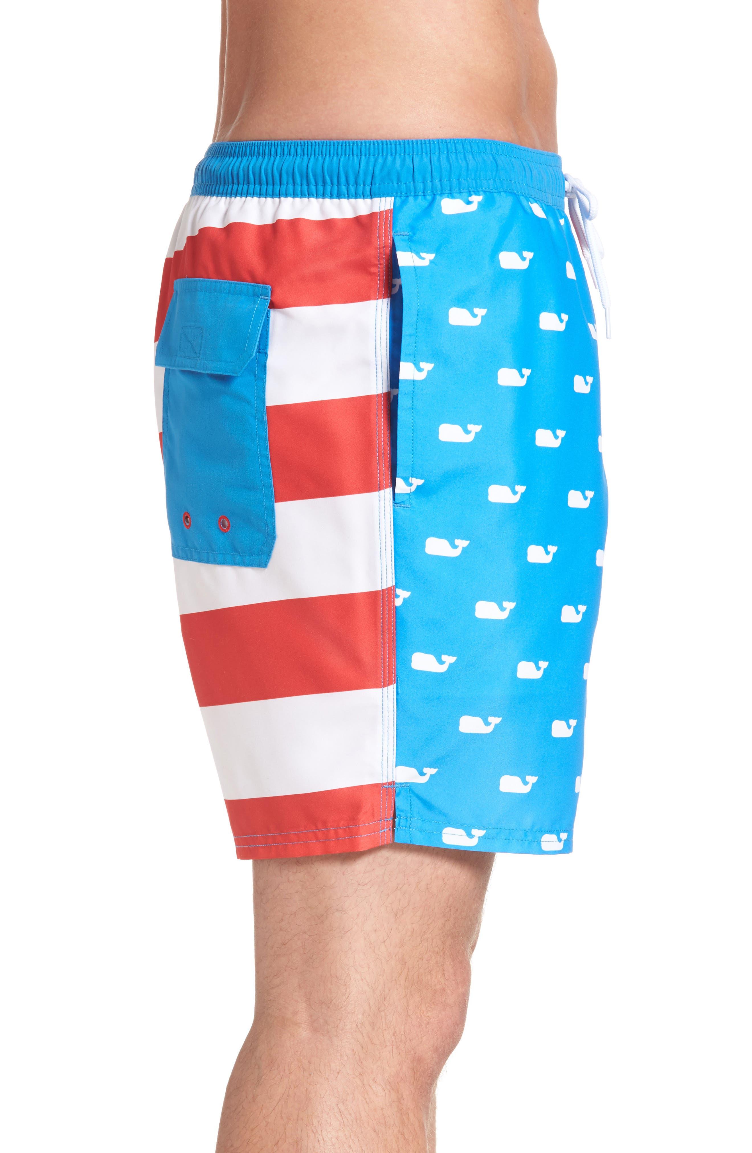 Whale Flag Chappy Swim Trunks,                             Alternate thumbnail 3, color,                             494