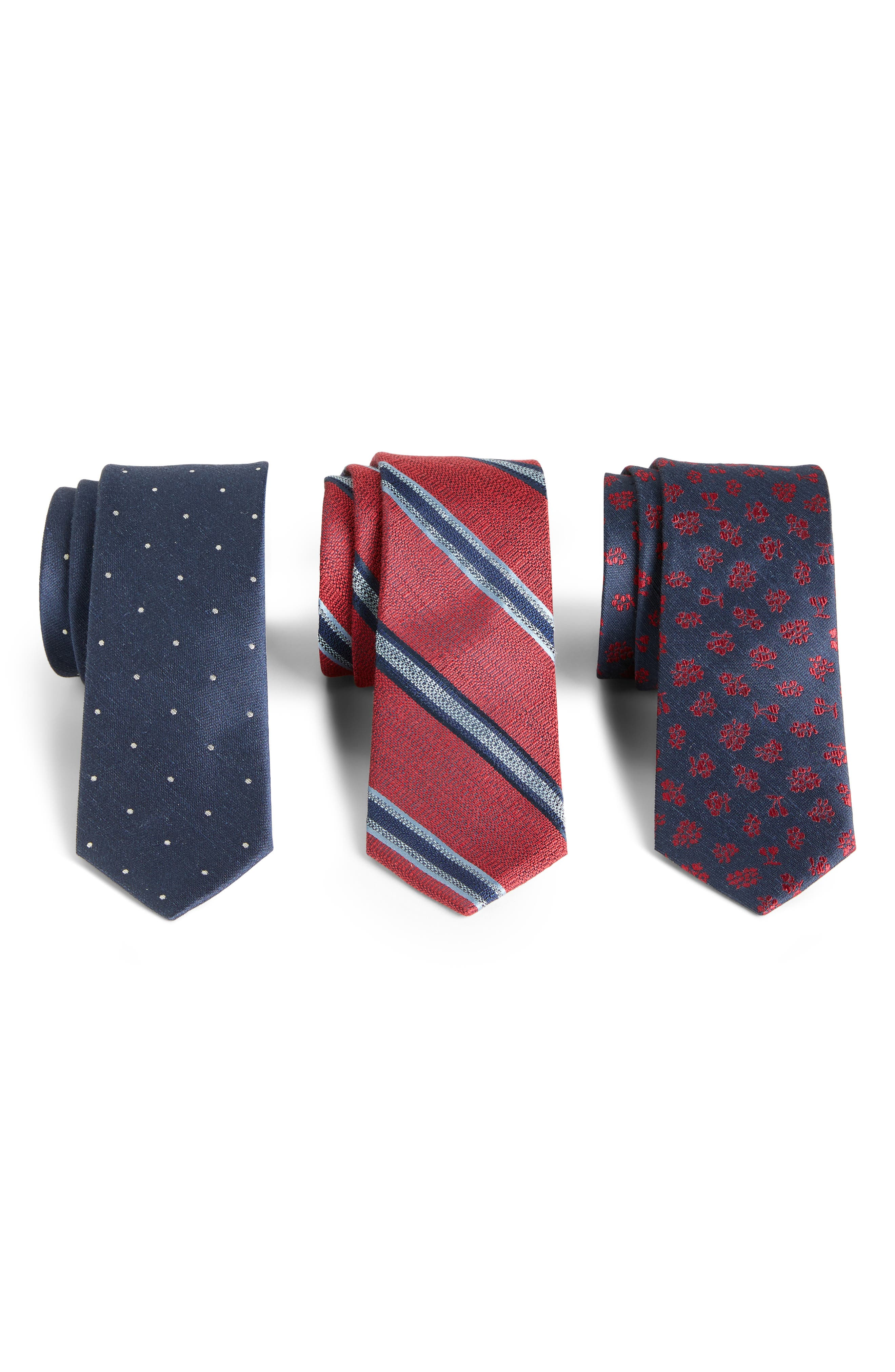 THE TIE BAR,                             3-Pack Red Tie Gift Set,                             Main thumbnail 1, color,                             RED