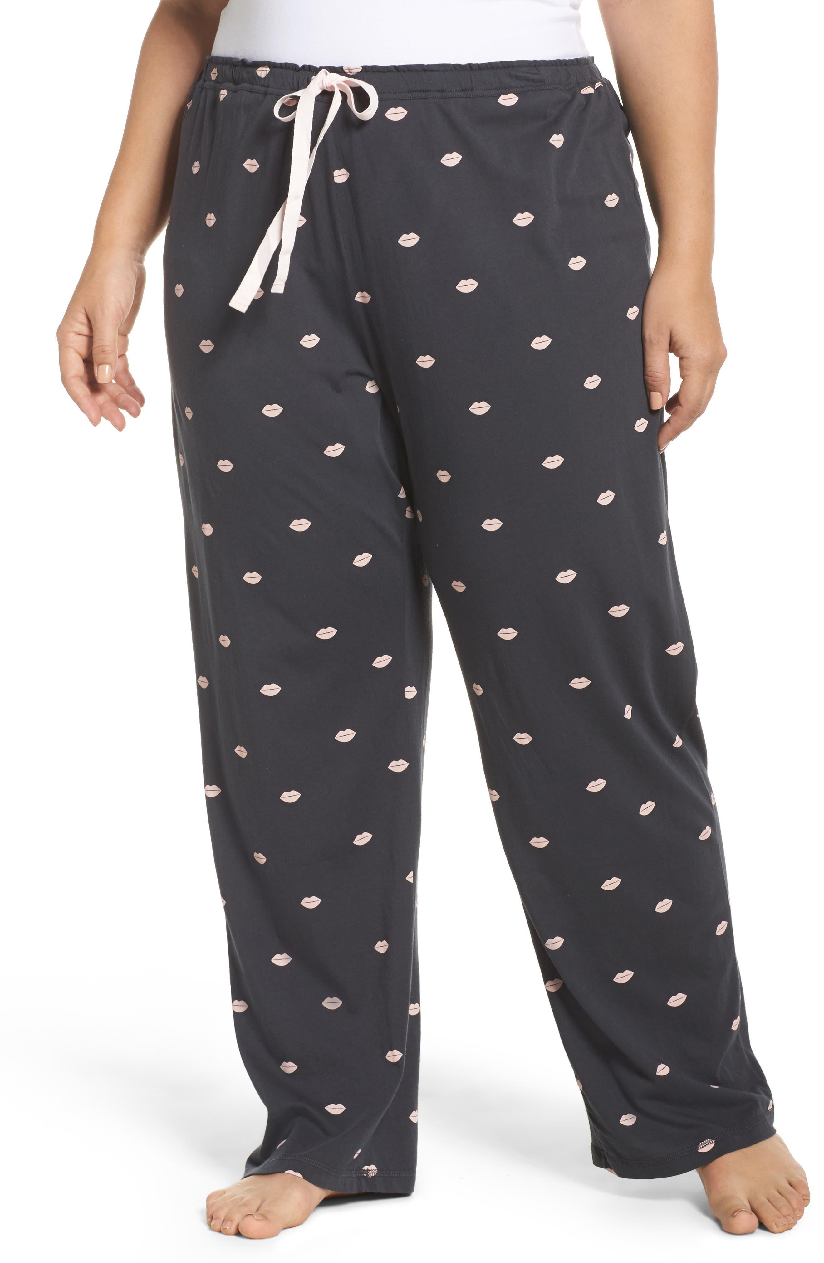 Lip Print Pajama Pants,                             Main thumbnail 1, color,