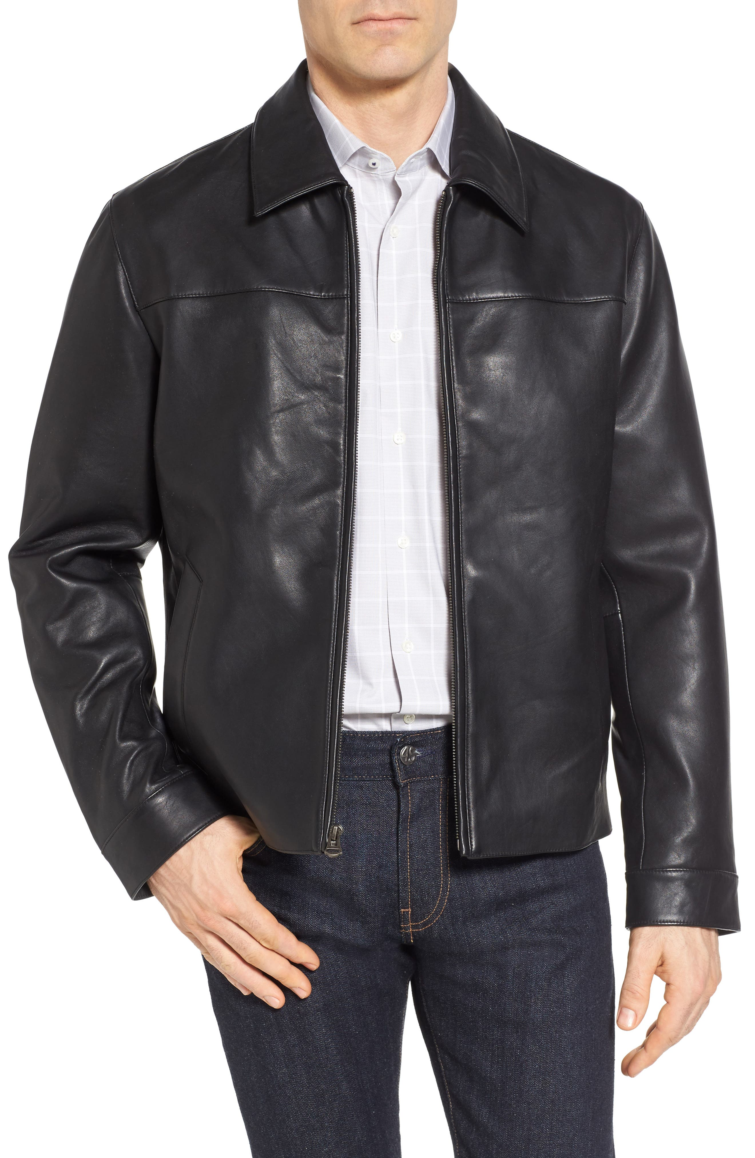 Regular Fit Leather Jacket,                             Main thumbnail 1, color,                             BLACK