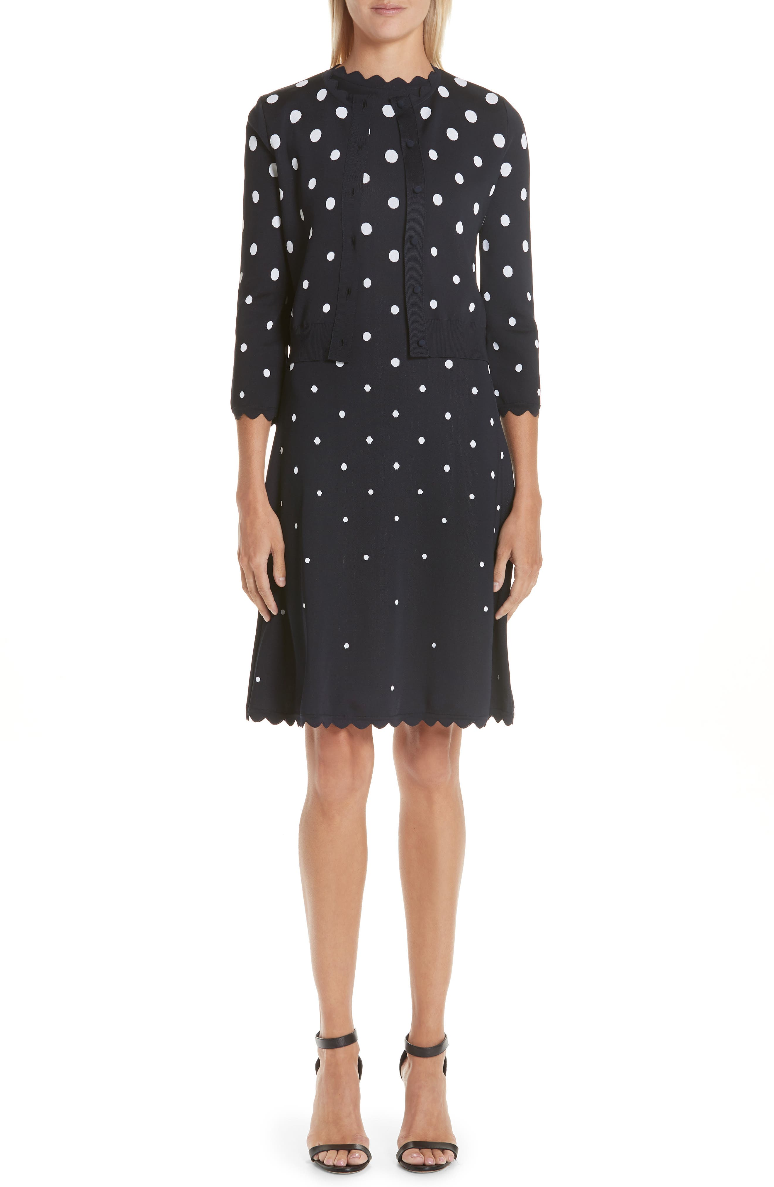 Scallop Edge Polka Dot A-Line Dress,                             Alternate thumbnail 8, color,                             NVW-NAVY/ WHITE