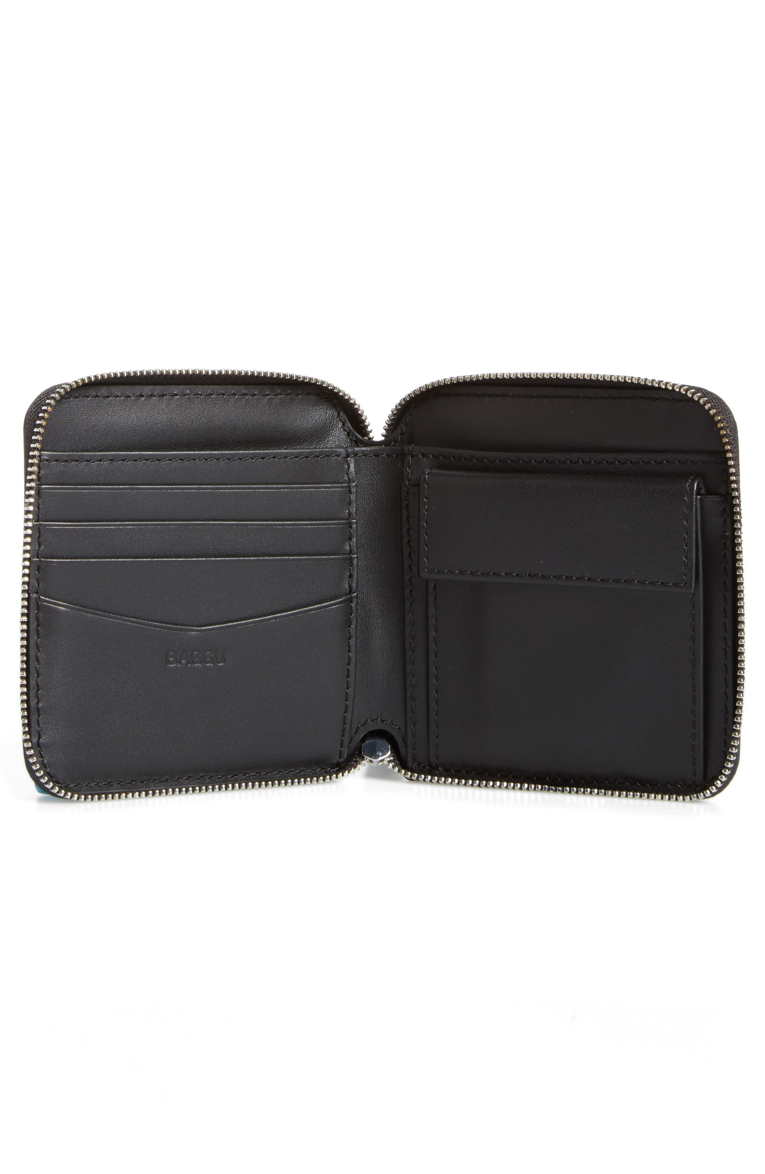 BAGGU,                             Zip Around Square Leather Wallet,                             Alternate thumbnail 2, color,                             001