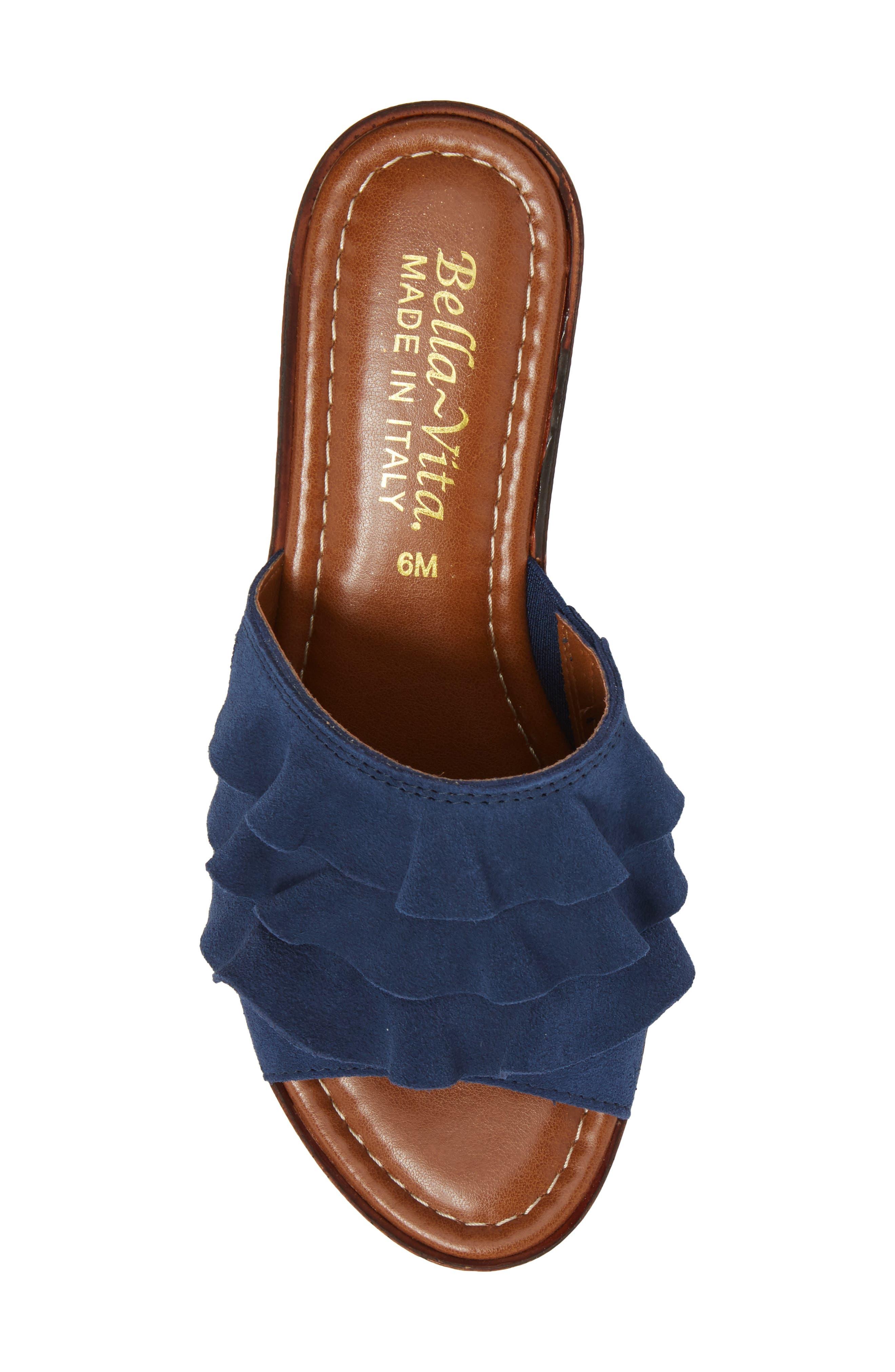 Bey Platform Wedge Sandal,                             Alternate thumbnail 5, color,                             NAVY SUEDE