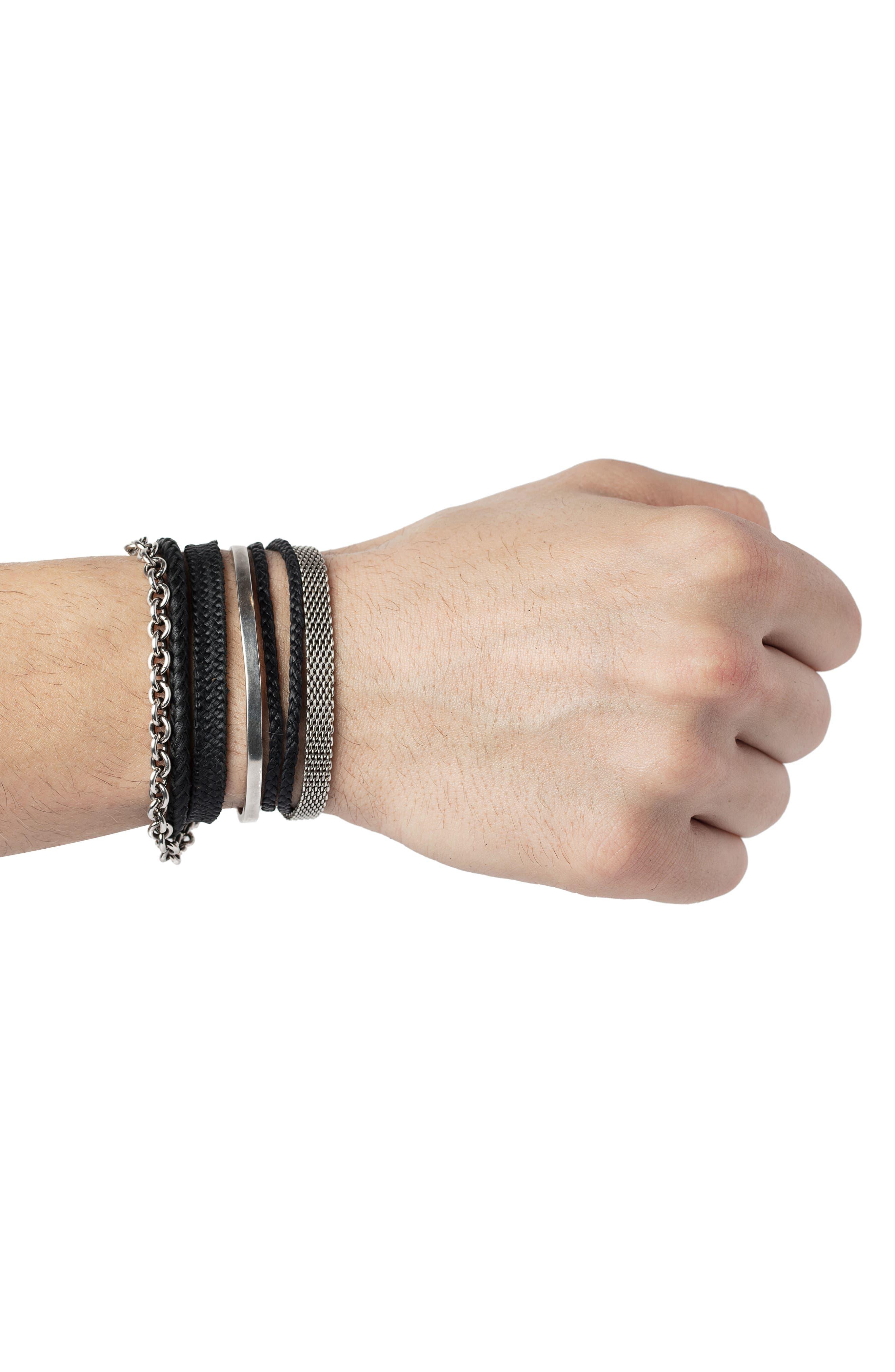 Wrap Bracelet,                             Alternate thumbnail 2, color,                             SILVER/BLACK