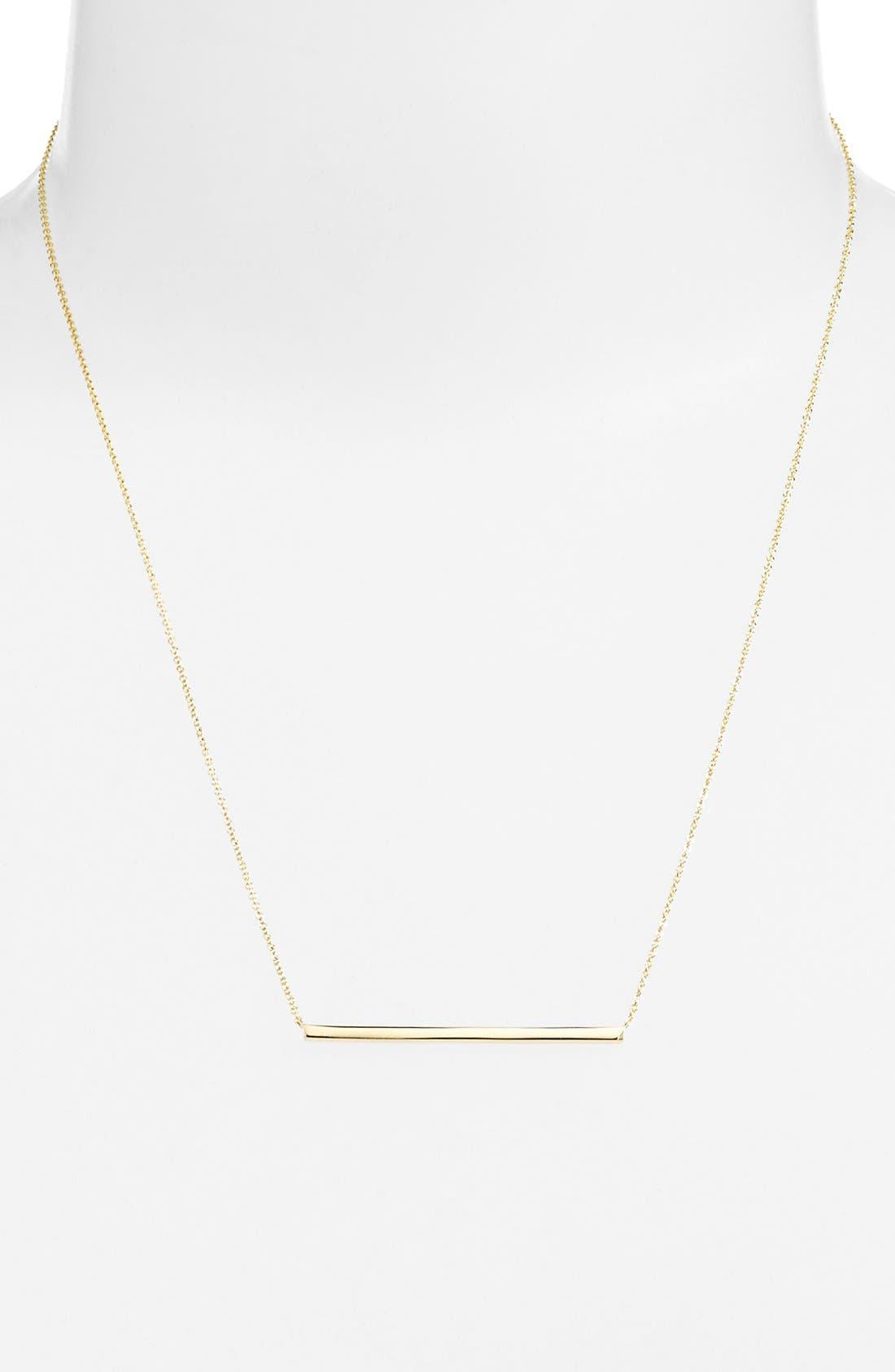 14k Gold Bar Pendant Necklace,                             Alternate thumbnail 4, color,