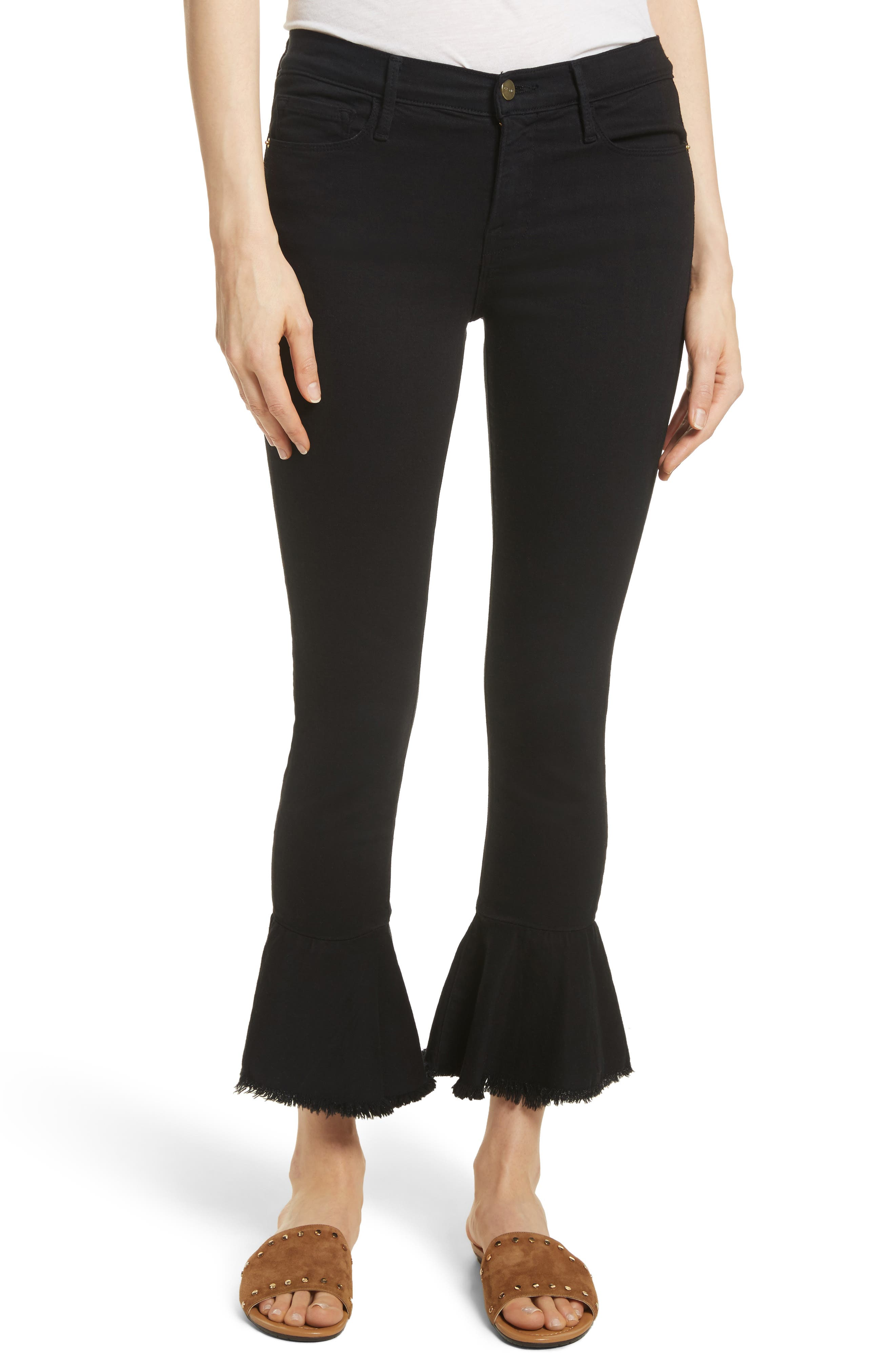 Le Skinny de Jeanne Flounce Skinny Jeans,                             Main thumbnail 1, color,                             001