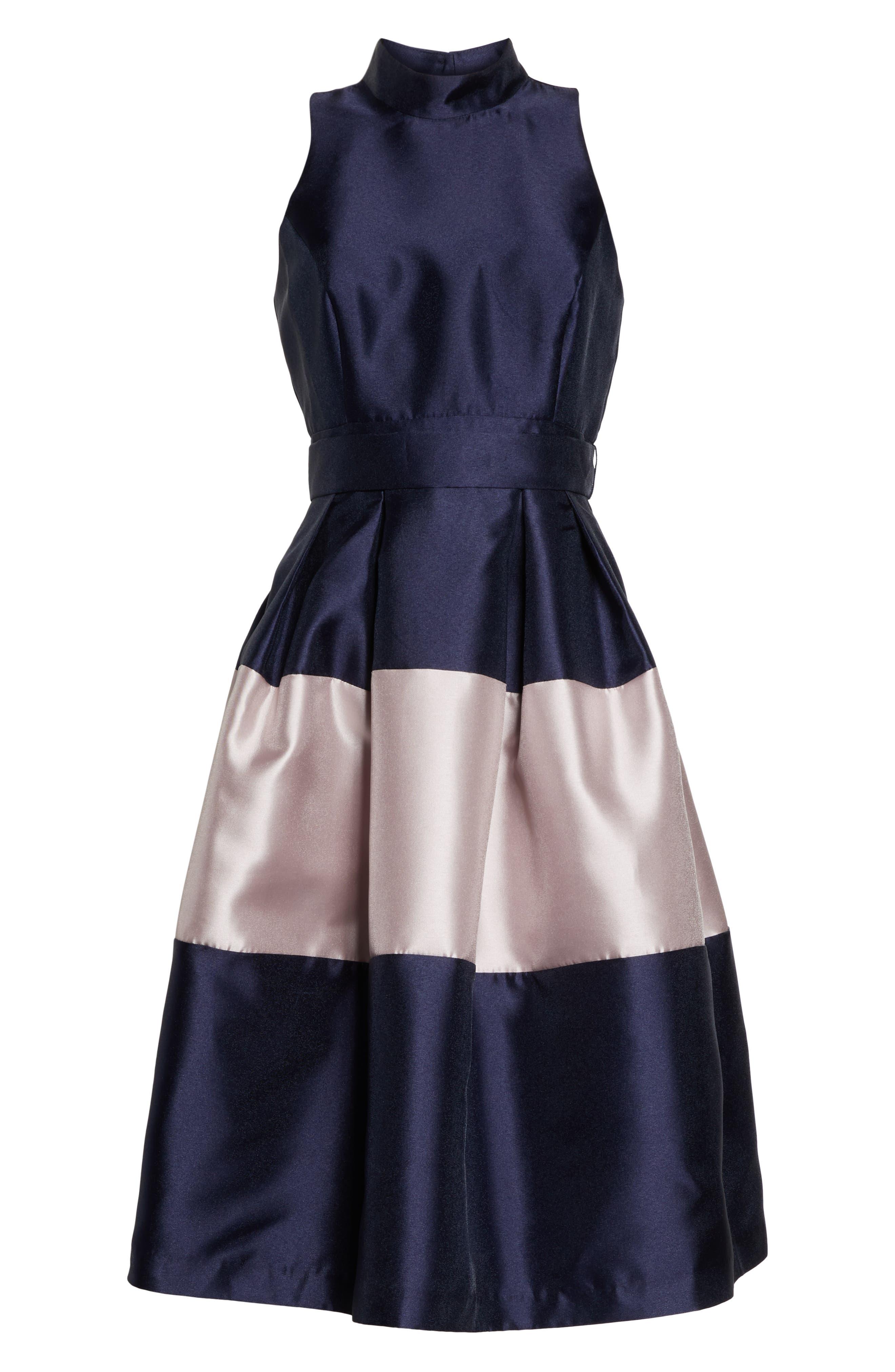 1901,                             Colorblock Fit & Flare Dress,                             Alternate thumbnail 7, color,                             NAVY SAPPHIRE