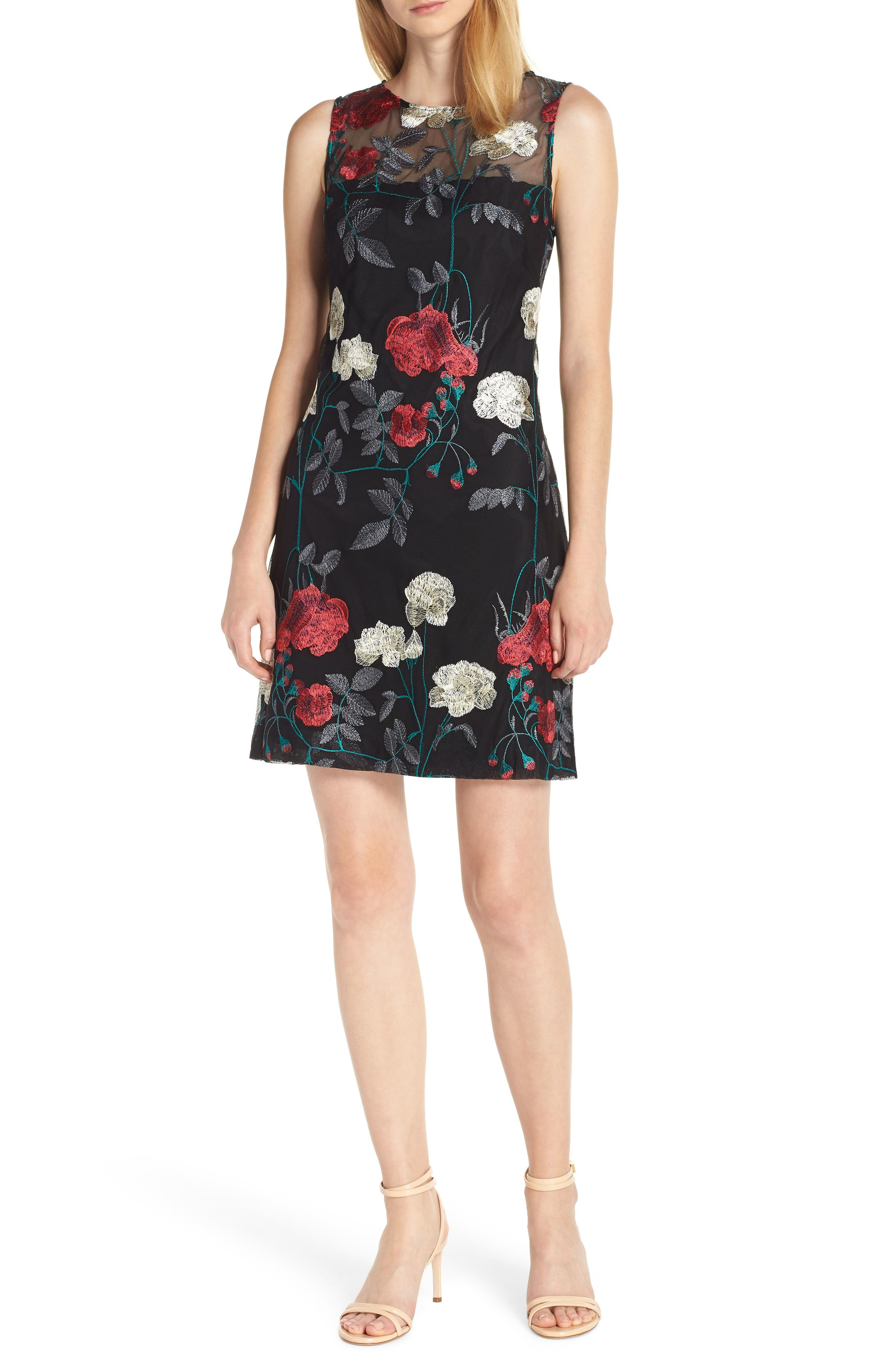 Vince Camuto Embroidered Mesh Sheath Dress, Black