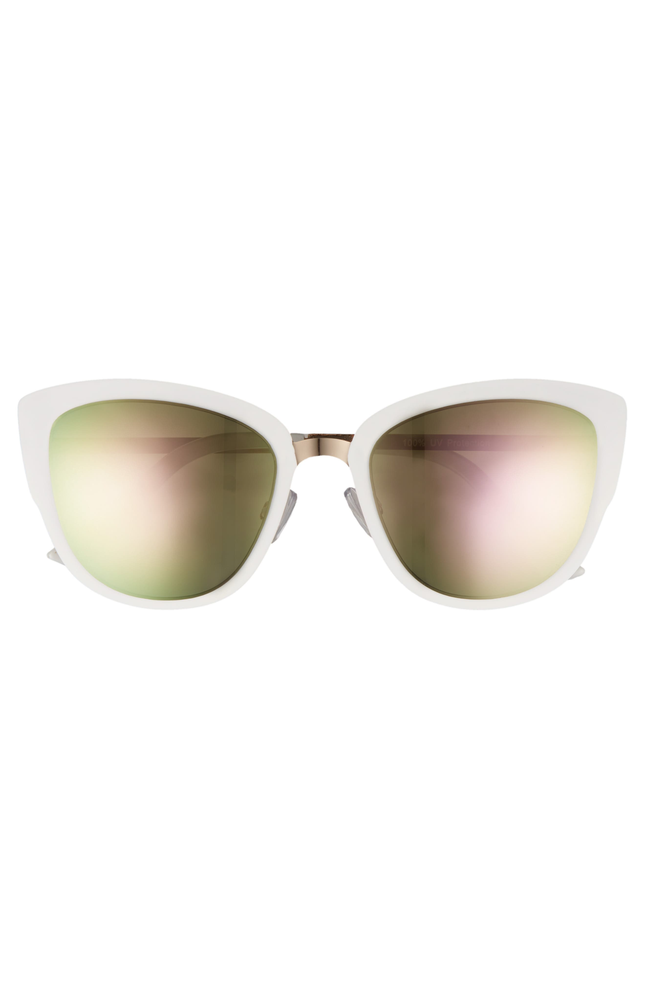 59mm Cat Eye Sunglasses,                             Alternate thumbnail 3, color,                             GOLD/ WHITE