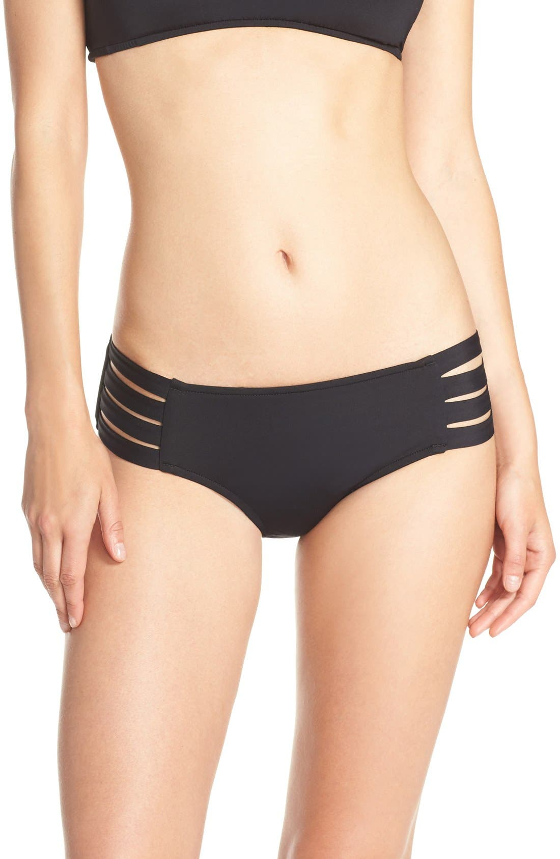 Strappy Hipster Bikini Bottoms,                         Main,                         color, BLACK