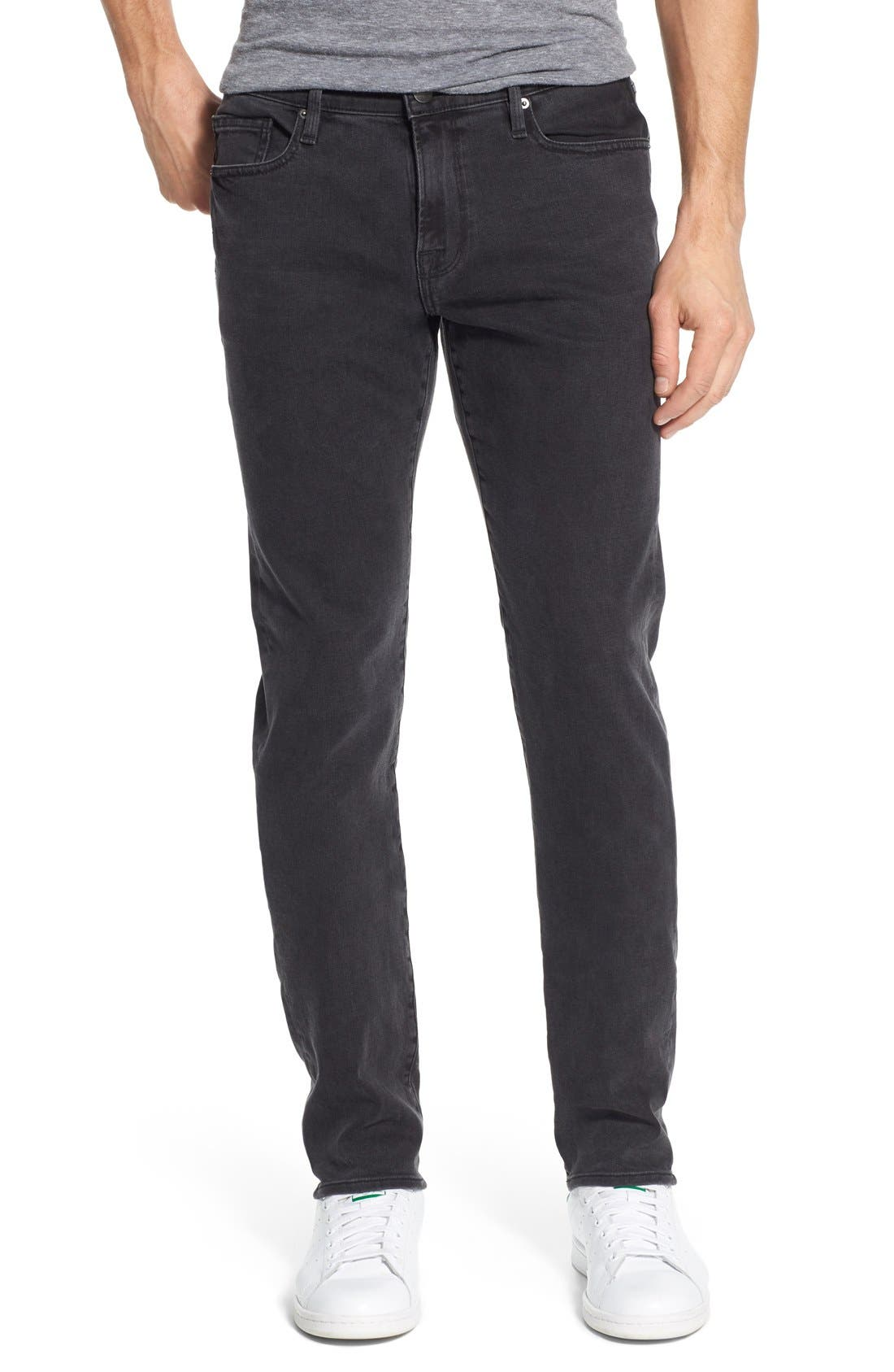 'L'Homme' Skinny Fit Jeans,                             Main thumbnail 1, color,                             FADE TO GREY