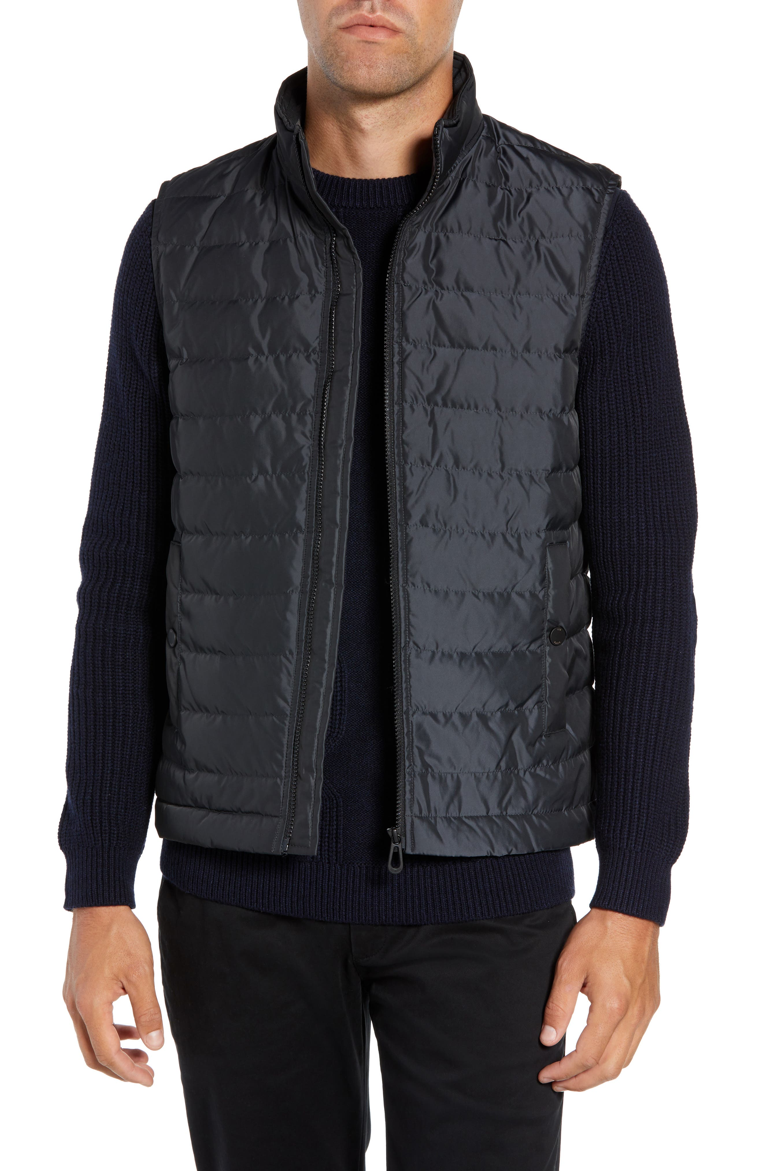 Yarg Slim Fit Quilted Vest,                             Main thumbnail 1, color,                             GREY