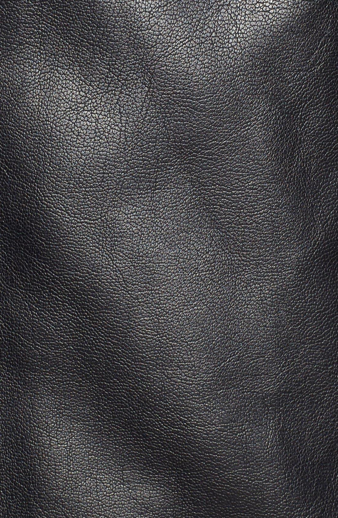 Faux Leather Zip Jacket,                             Alternate thumbnail 3, color,                             BLACK