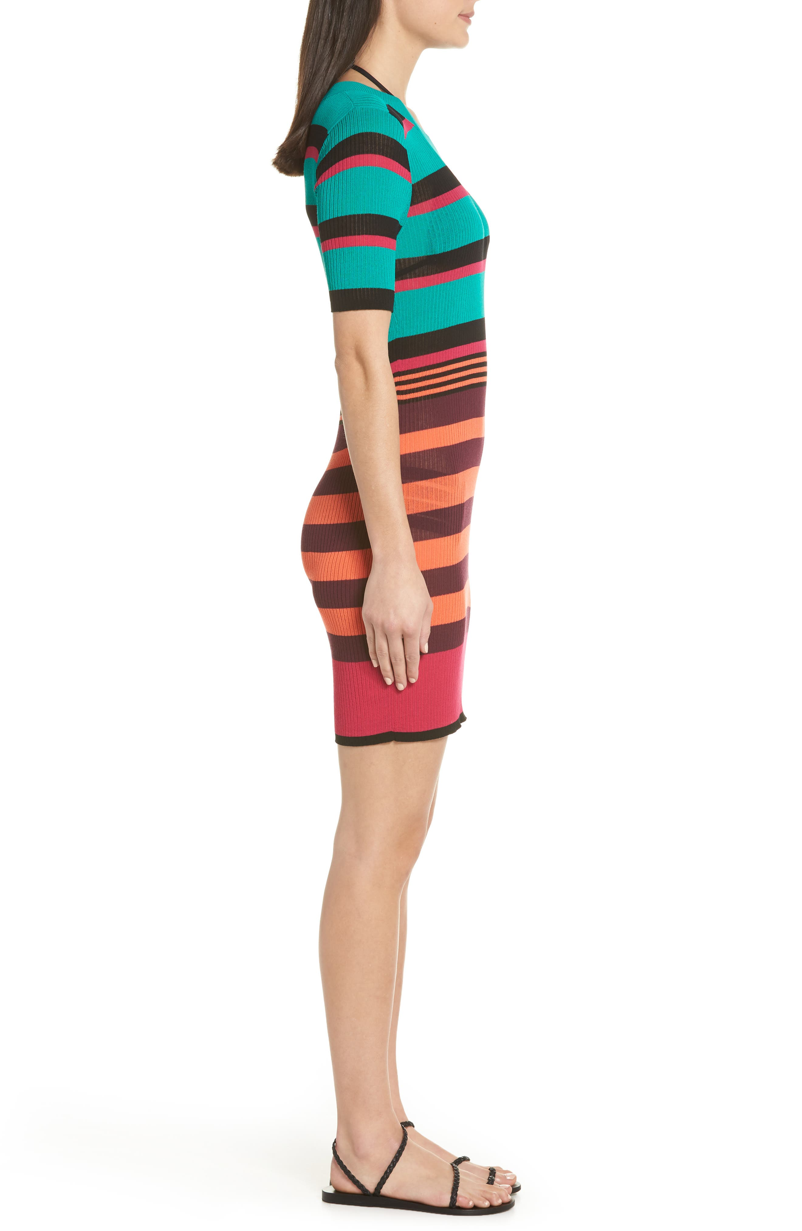 DVF Stripe Ribbed Cover-Up Sweater Dress,                             Alternate thumbnail 3, color,                             BRIGHT BLUE
