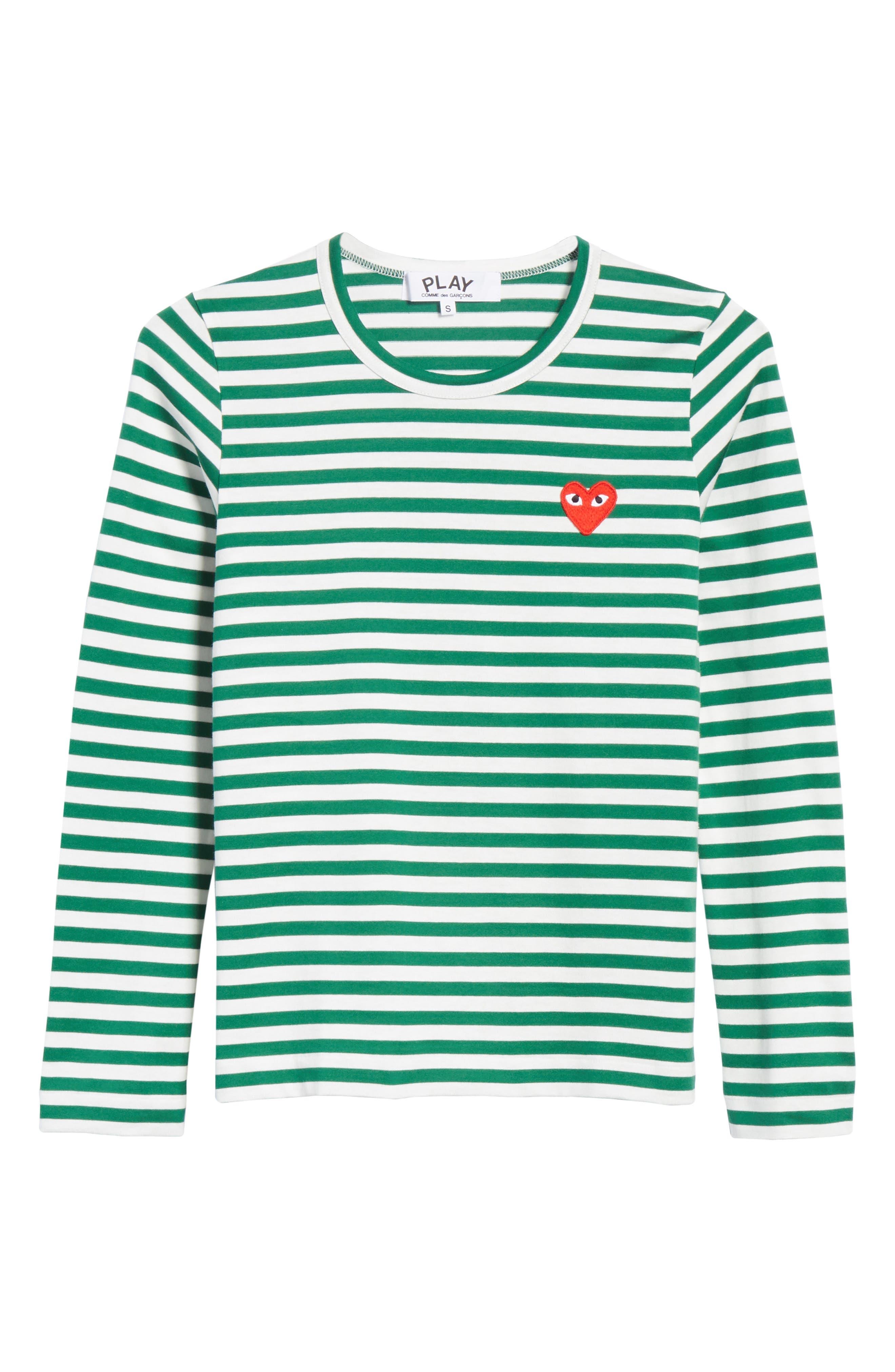Comme des Garçons PLAY Stripe Cotton Tee,                             Alternate thumbnail 6, color,                             GREEN/ WHITE