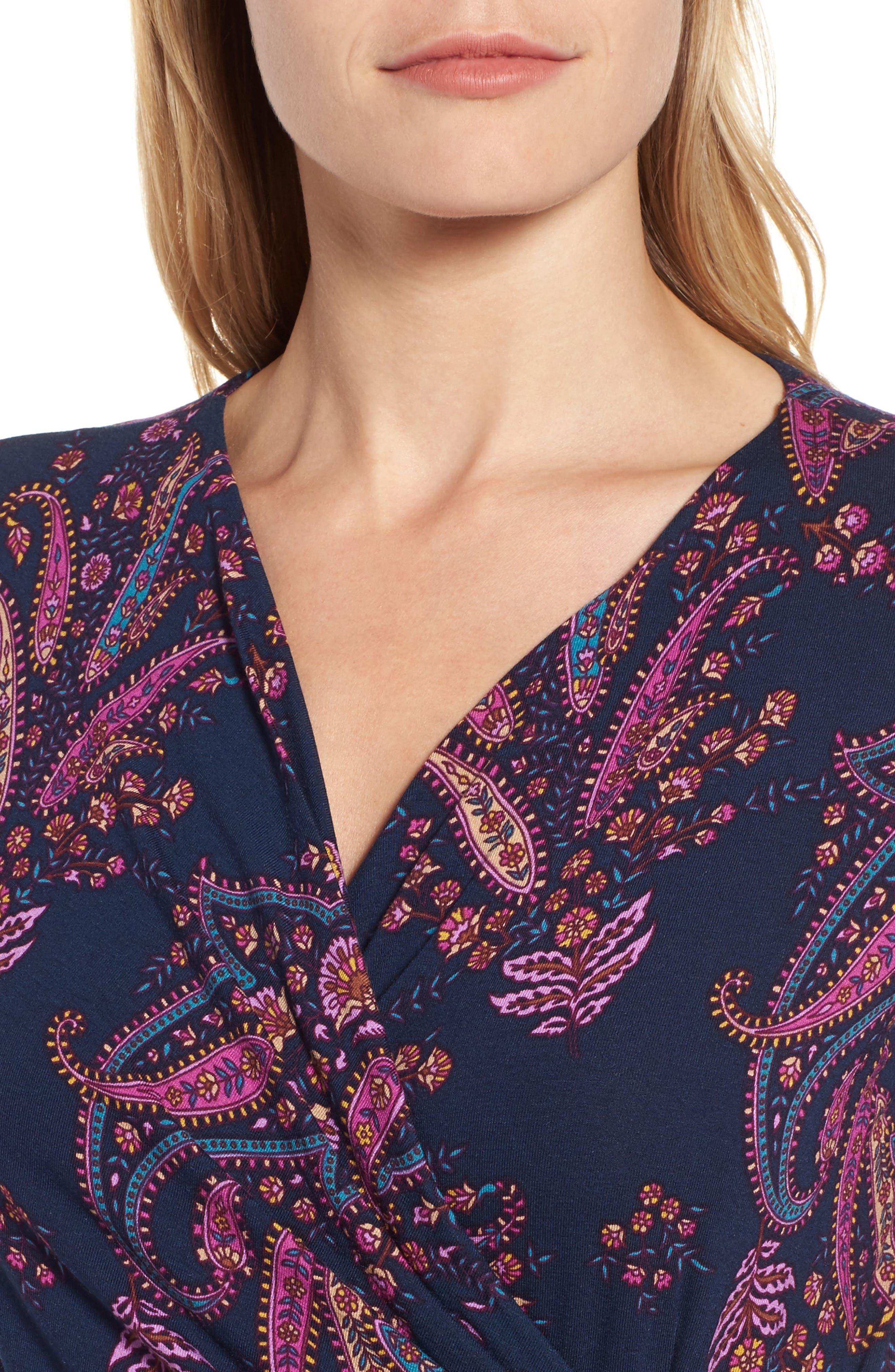 Paisley Daze Faux Wrap Dress,                             Alternate thumbnail 4, color,                             400