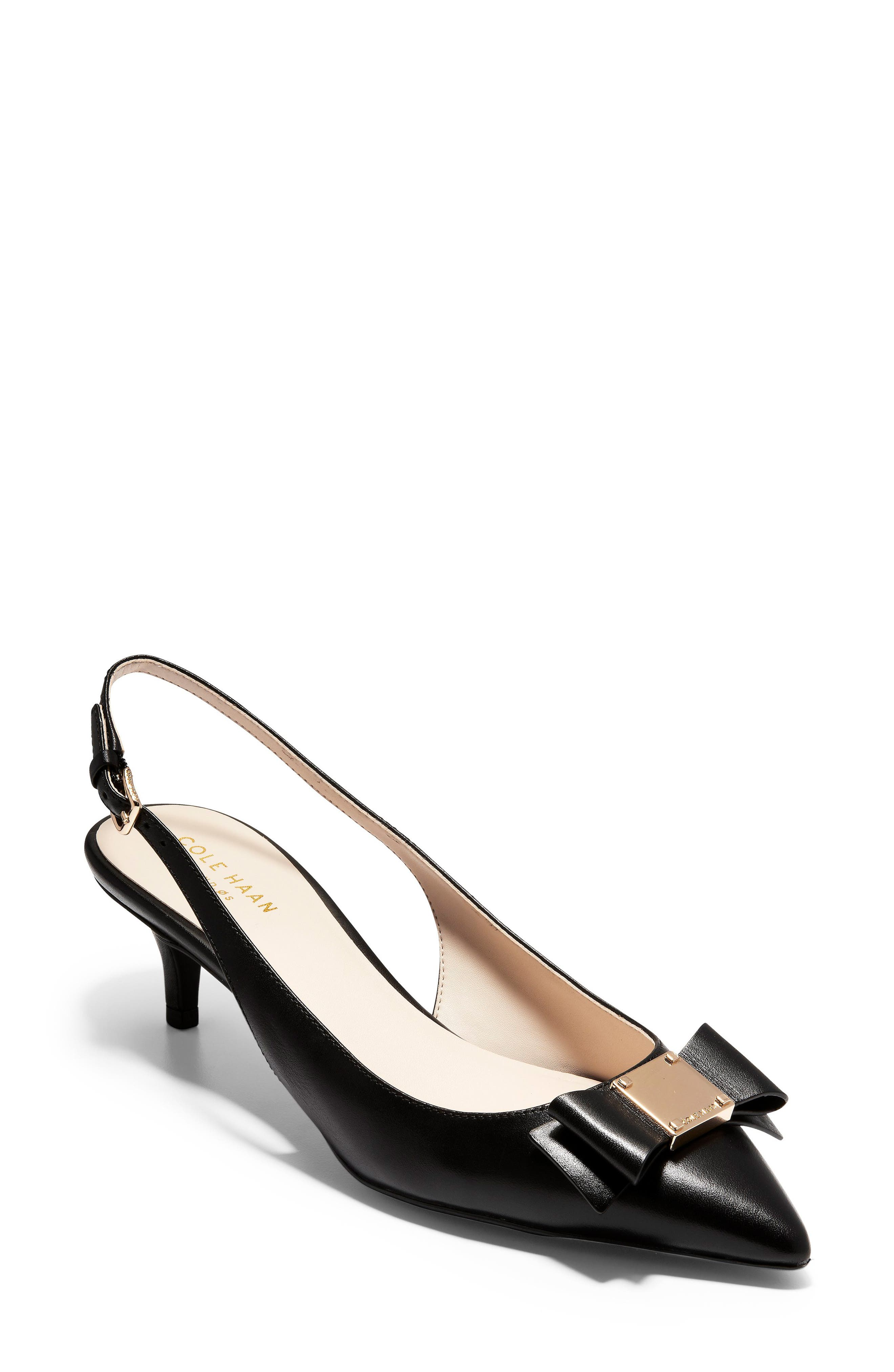 COLE HAAN,                             Tali Bow Slingback Pump,                             Main thumbnail 1, color,                             BLACK LEATHER