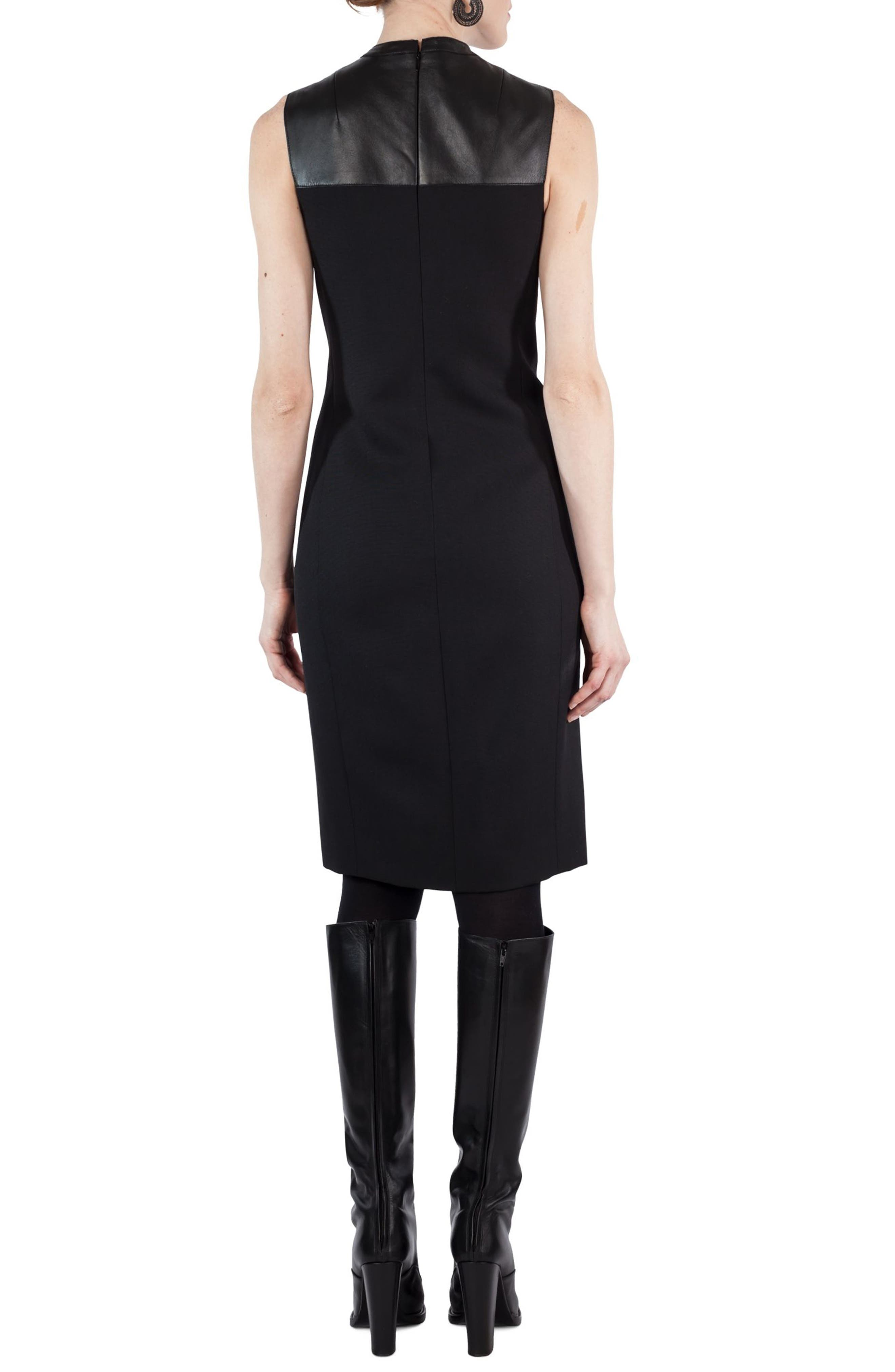 Wool & Leather Shift Dress,                             Alternate thumbnail 2, color,                             009