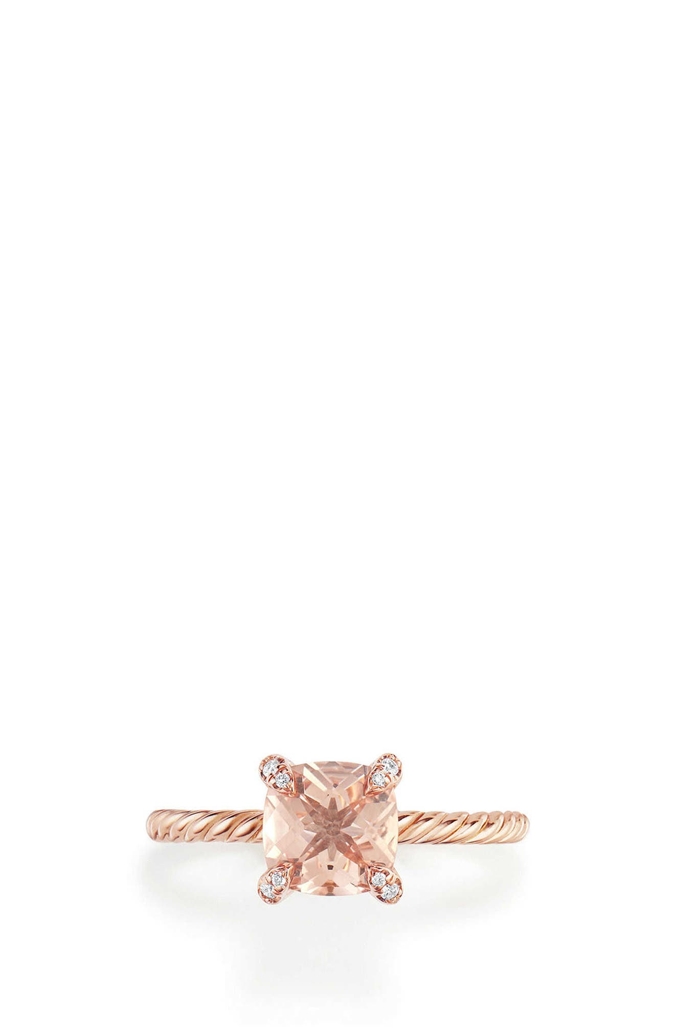 Chatelaine Ring with Morganite and Diamonds in 18K Rose Gold,                         Main,                         color, ROSE GOLD/ DIAMOND/ MORGANITE