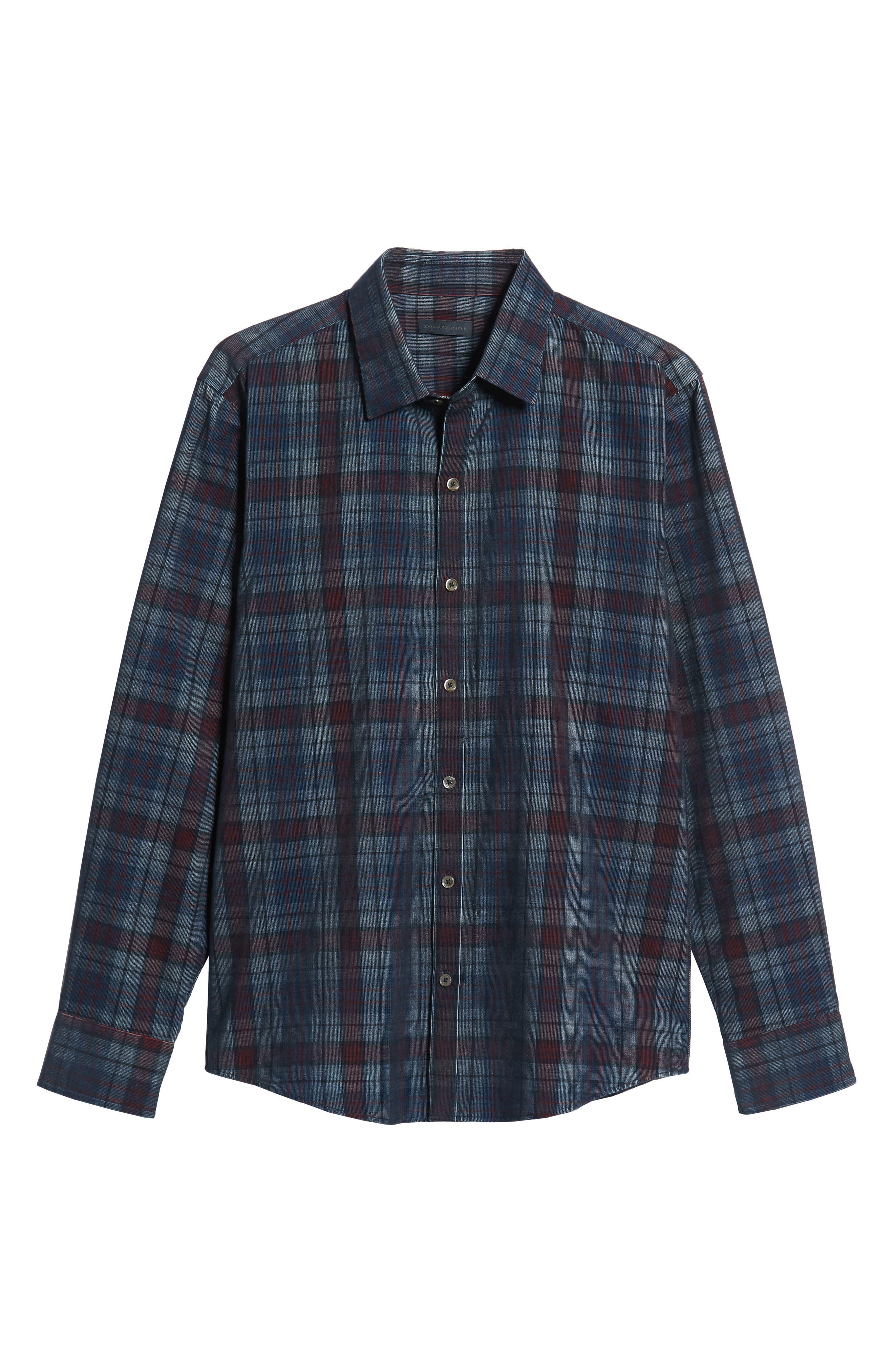 Lemke Regular Fit Corduroy Sport Shirt,                             Alternate thumbnail 5, color,                             NAVY