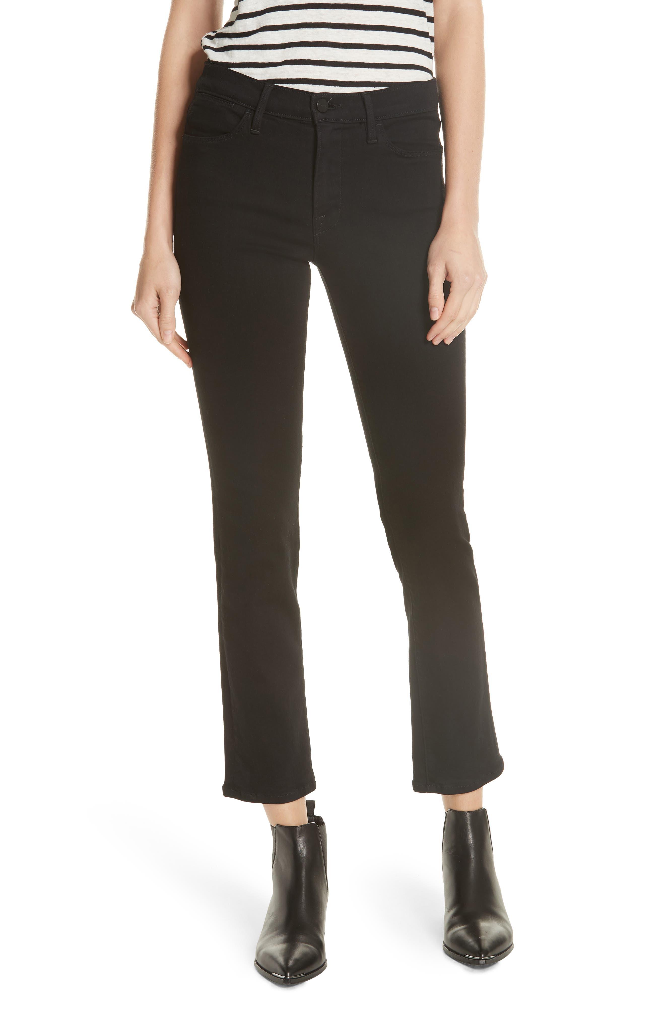 'Le High Straight' High Rise Crop Jeans,                         Main,                         color, FILM NOIR