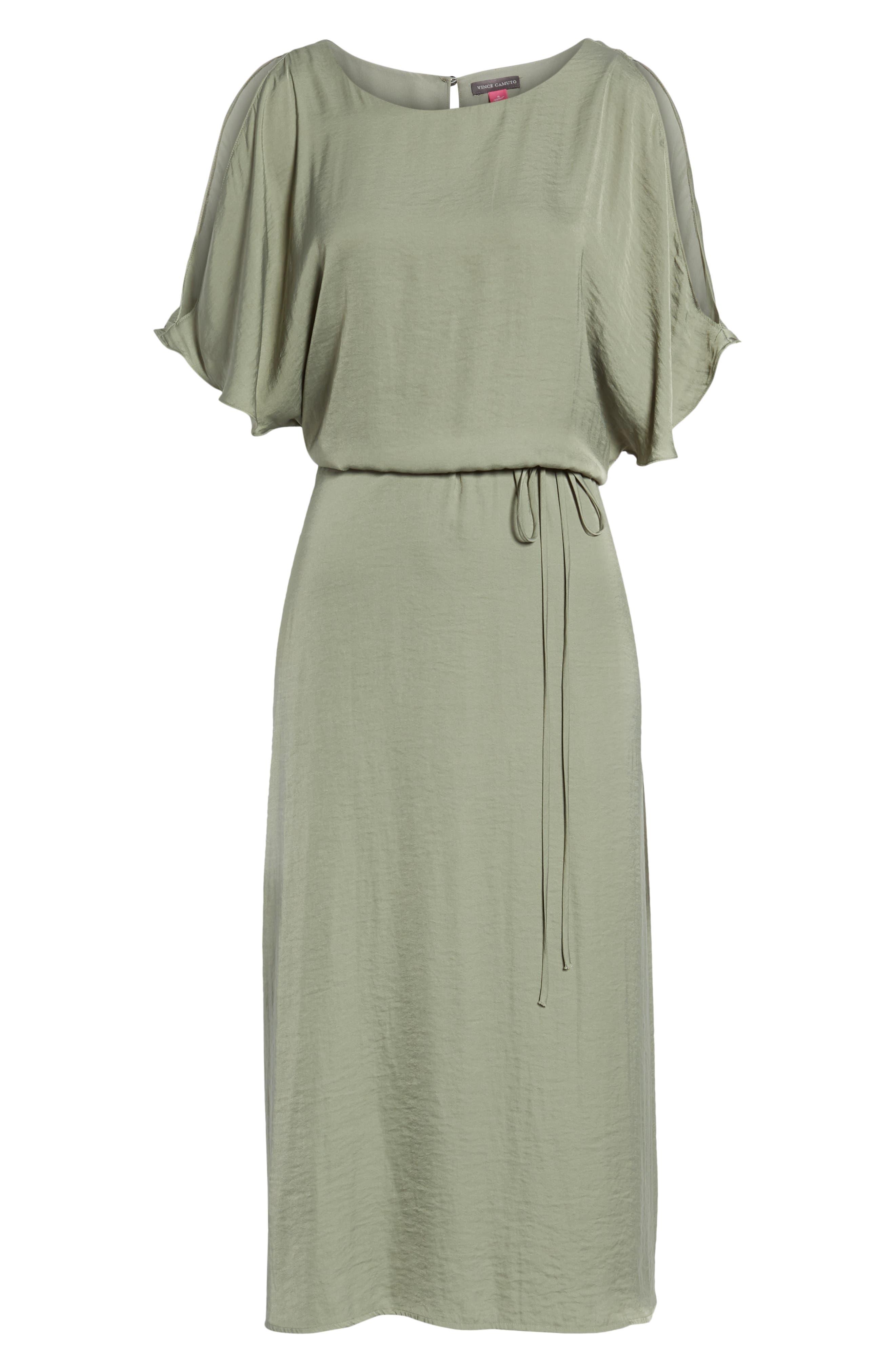 Cold Shoulder Rumpled Satin Dress,                             Alternate thumbnail 7, color,                             304