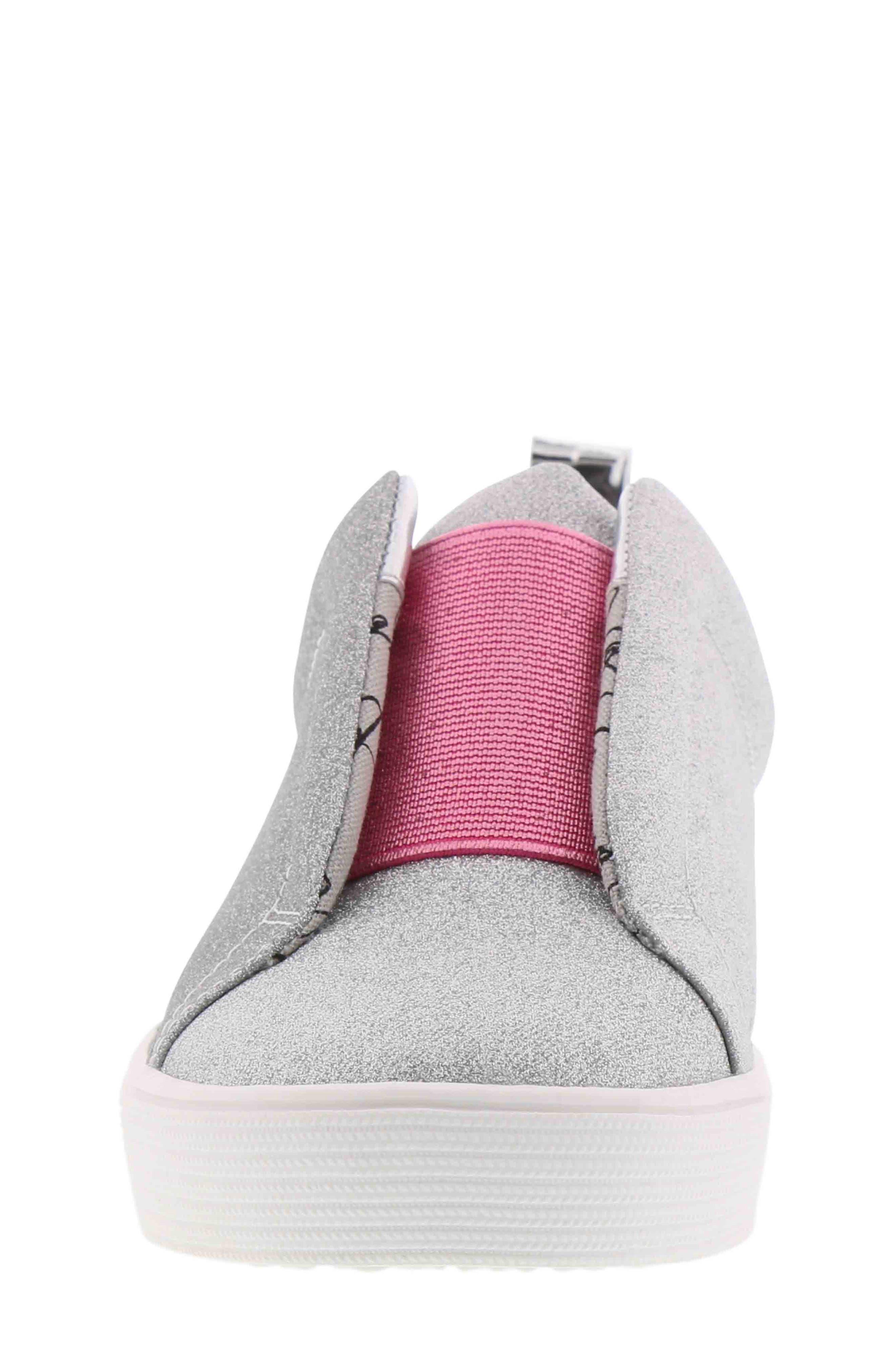 Bella Emma Slip-On Sneaker,                             Alternate thumbnail 4, color,                             SILVER GLITTER