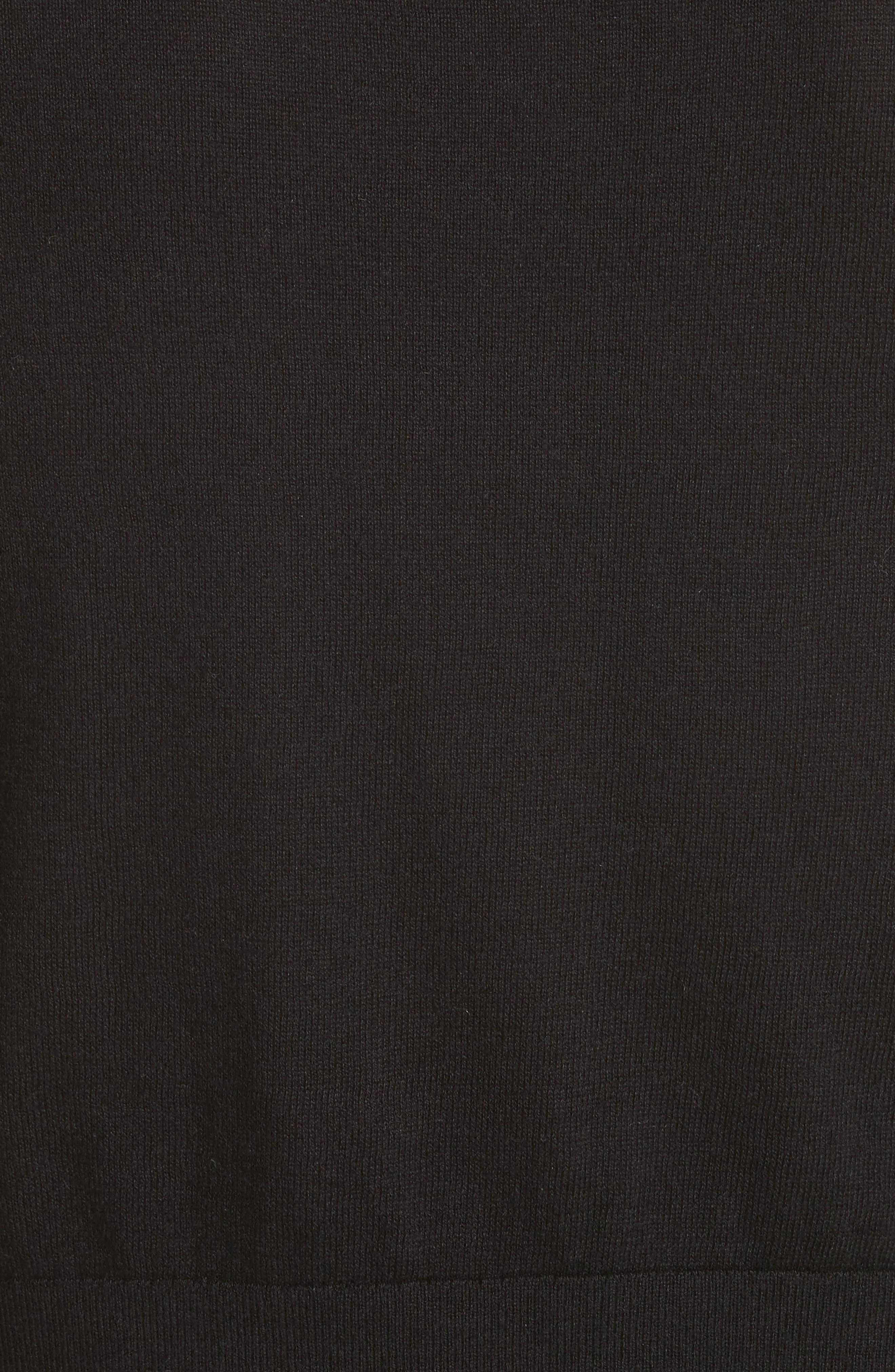 jewel button crop cardigan,                             Alternate thumbnail 5, color,                             BLACK