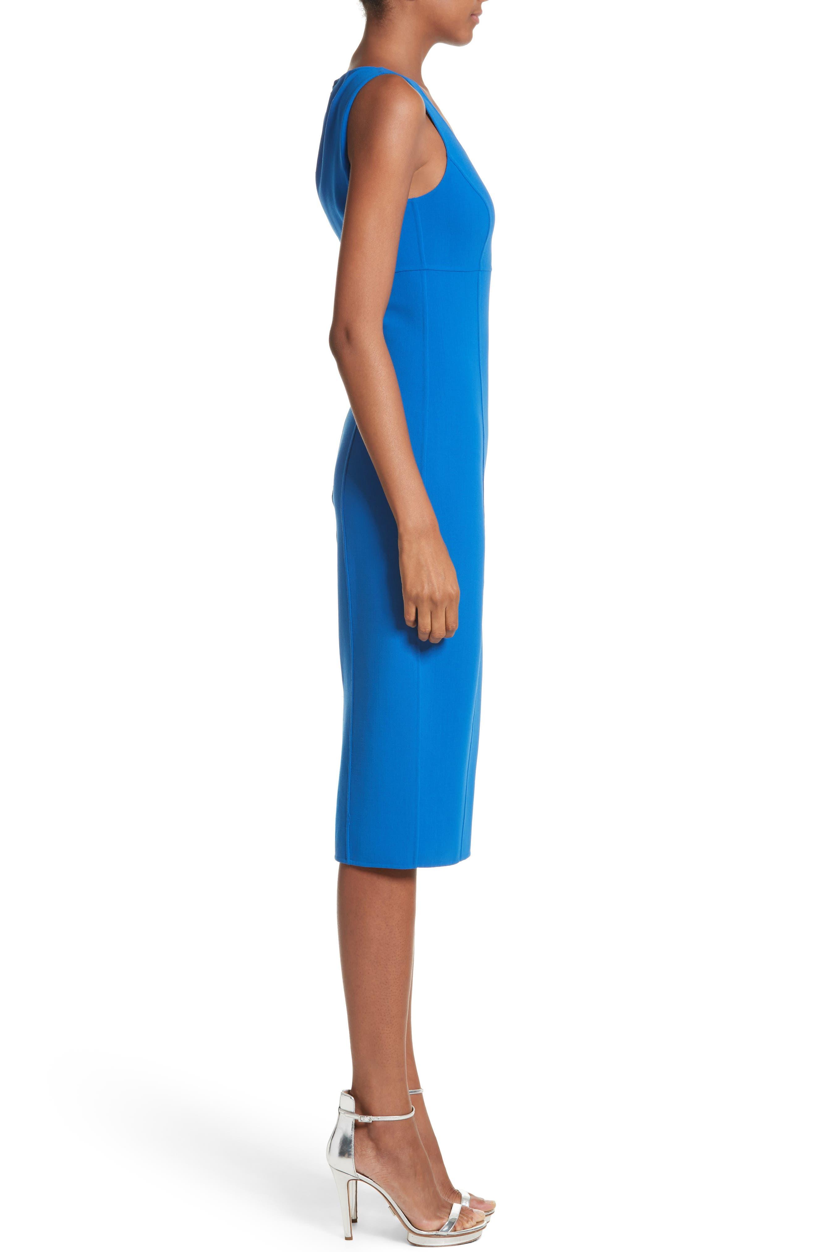 Stretch Wool Scoopneck Sheath Dress,                             Alternate thumbnail 3, color,                             405