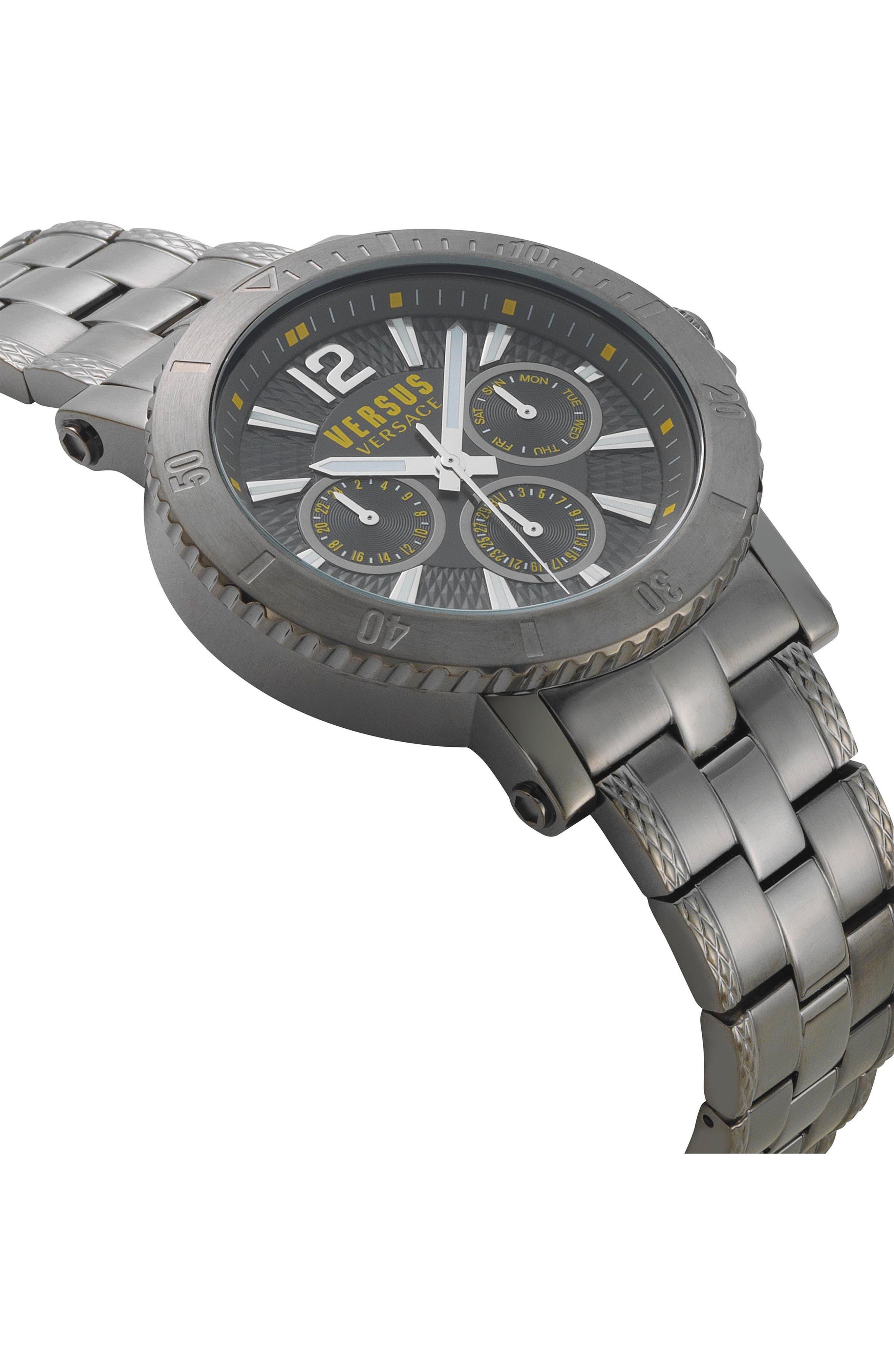 VERSUS by Versace Steenberg Multifunction Bracelet Watch, 45mm,                             Alternate thumbnail 3, color,                             GUNMETAL