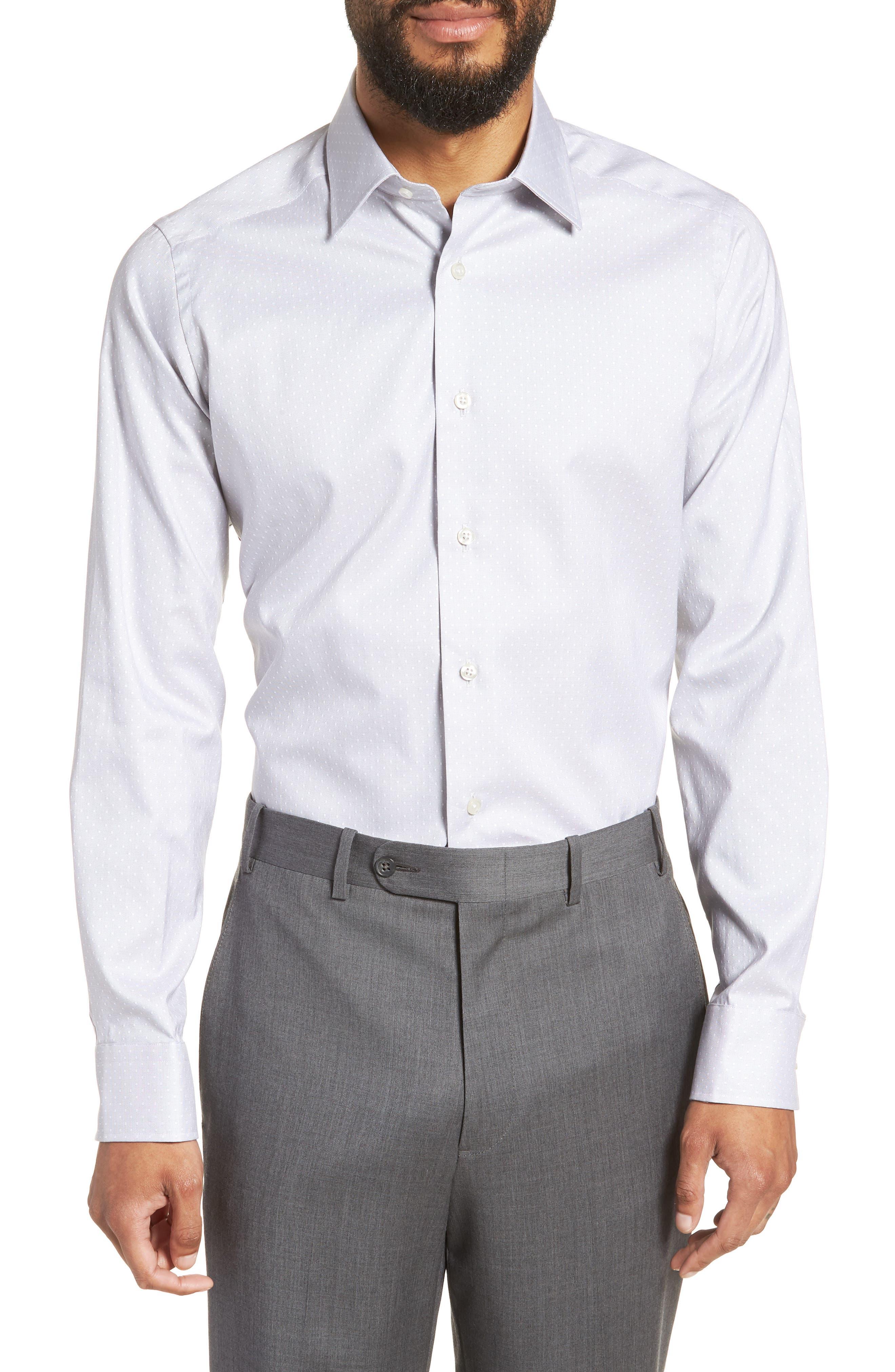 Slim Fit Dot Dress Shirt,                             Main thumbnail 1, color,                             GRAY