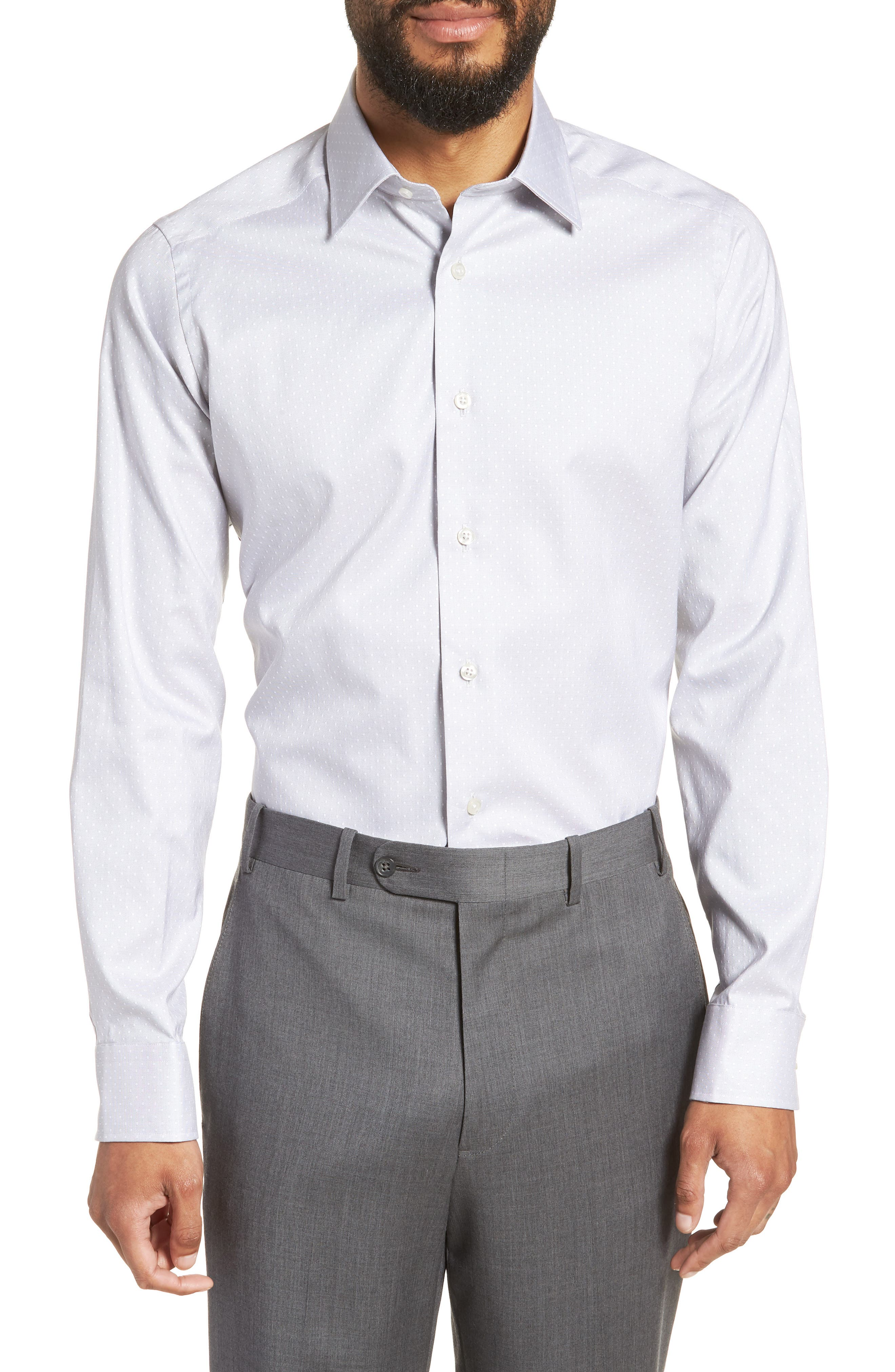 Slim Fit Dot Dress Shirt,                         Main,                         color, GRAY