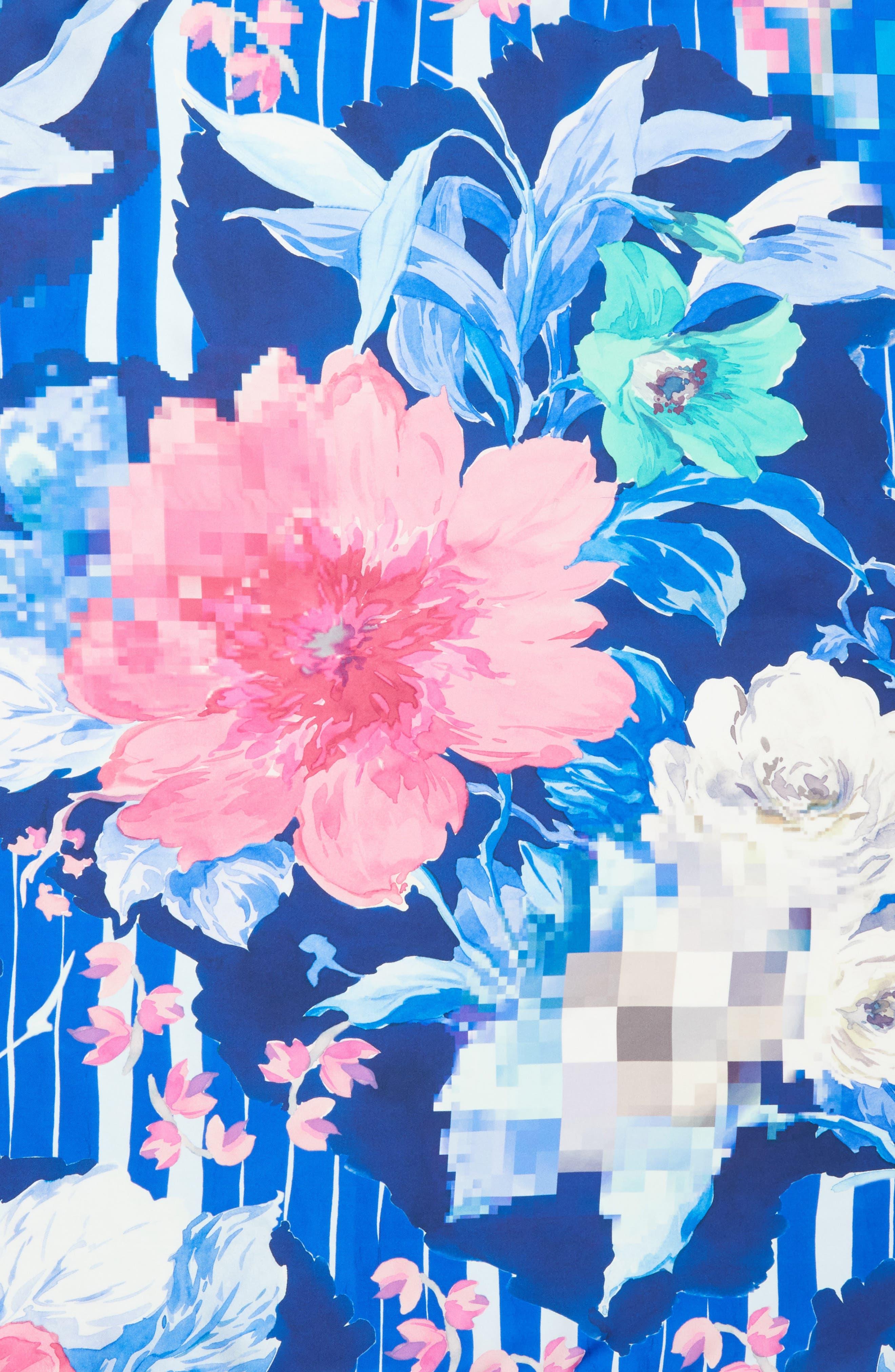 Fuori Fuoco Square Silk Scarf,                             Alternate thumbnail 4, color,                             ROYAL