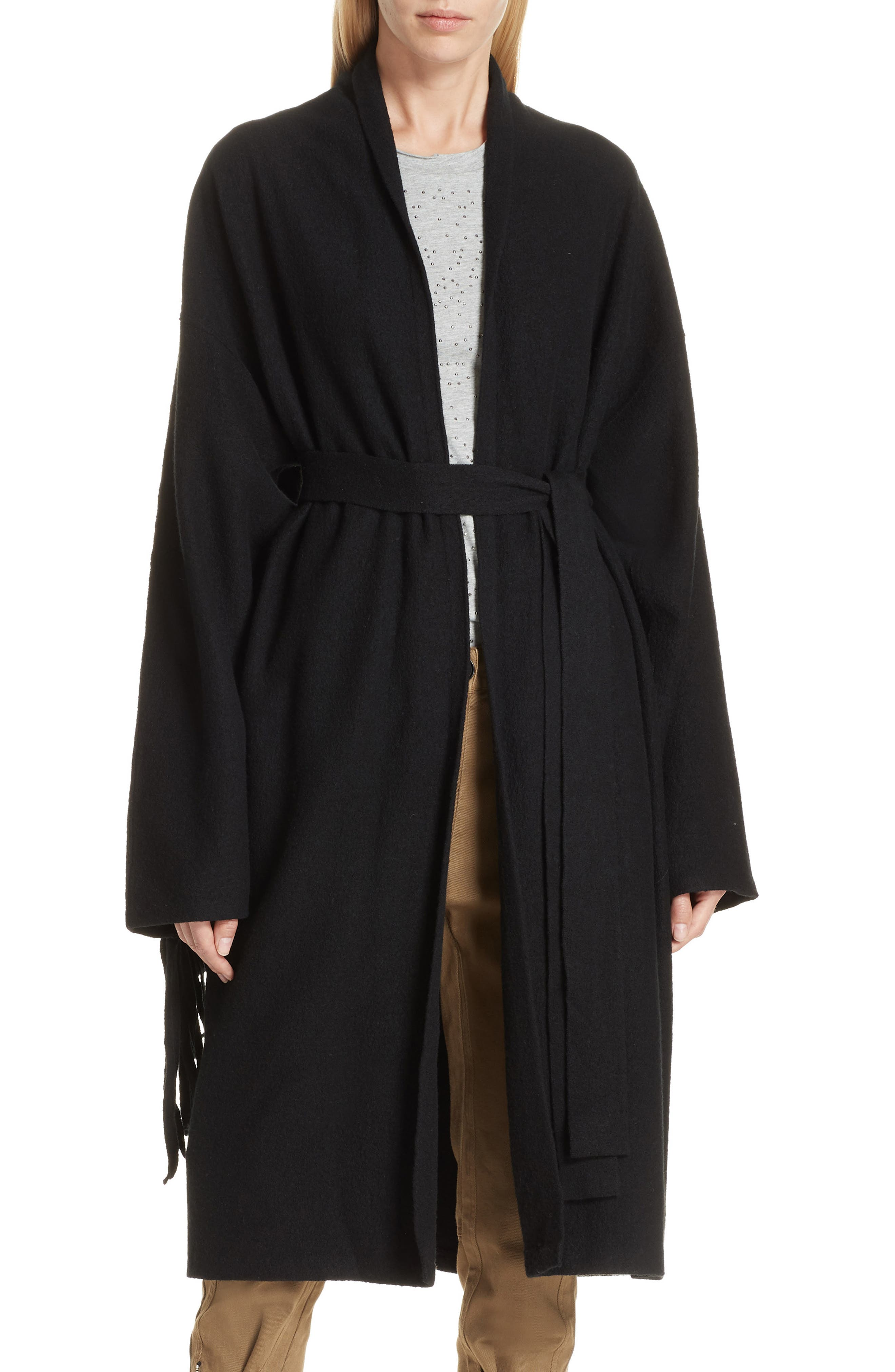 Fringe Detail Boiled Wool & Cashmere Wrap Coat,                             Main thumbnail 1, color,                             BLACK