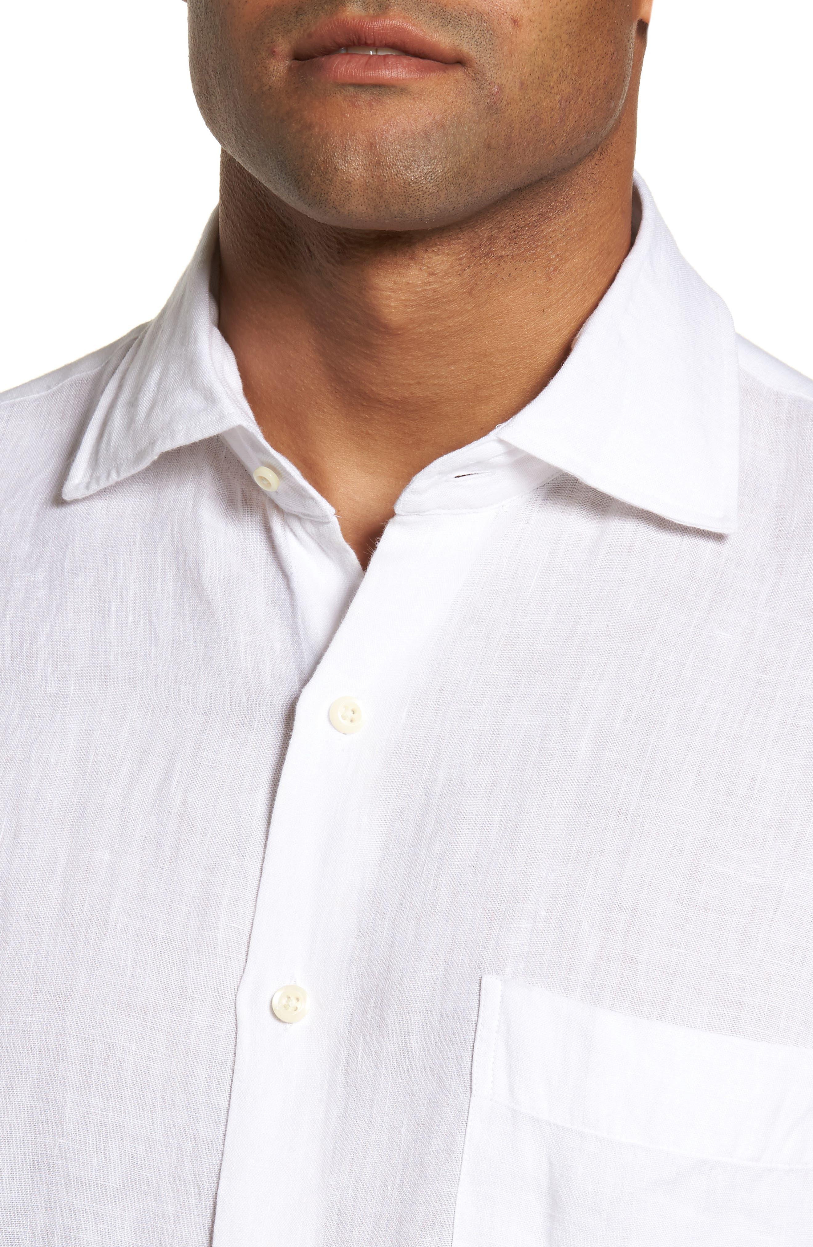 Classic Fit Crown Cool Linen Sport Shirt,                             Alternate thumbnail 4, color,                             100