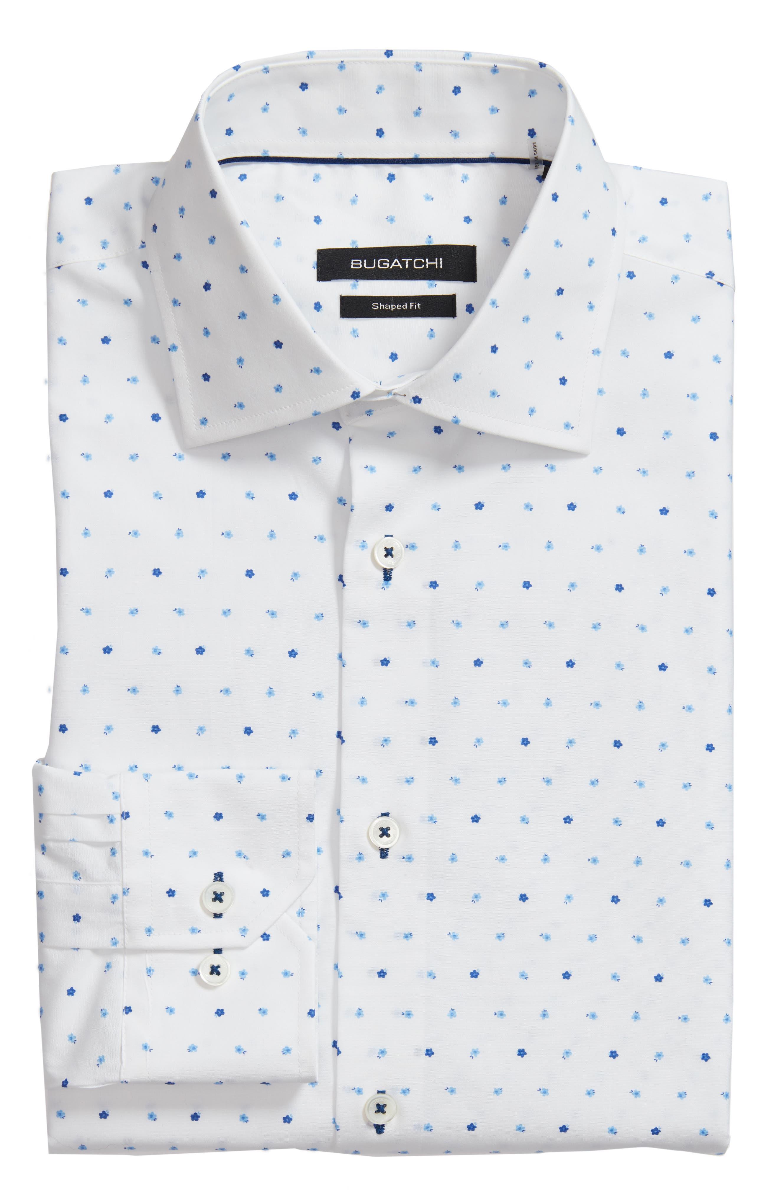 Trim Fit Print Dress Shirt,                             Alternate thumbnail 5, color,                             CLASSIC BLUE/ WHITE