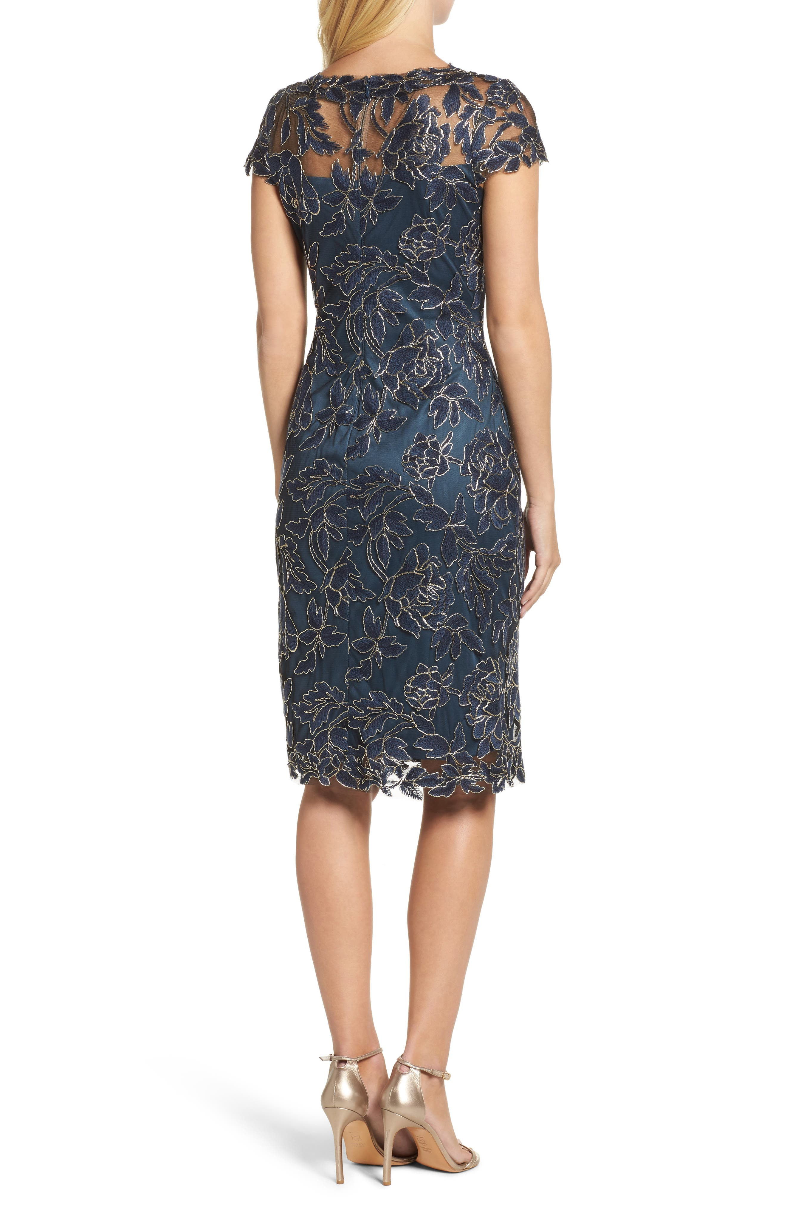 Embroidered Mesh Sheath Dress,                             Alternate thumbnail 4, color,