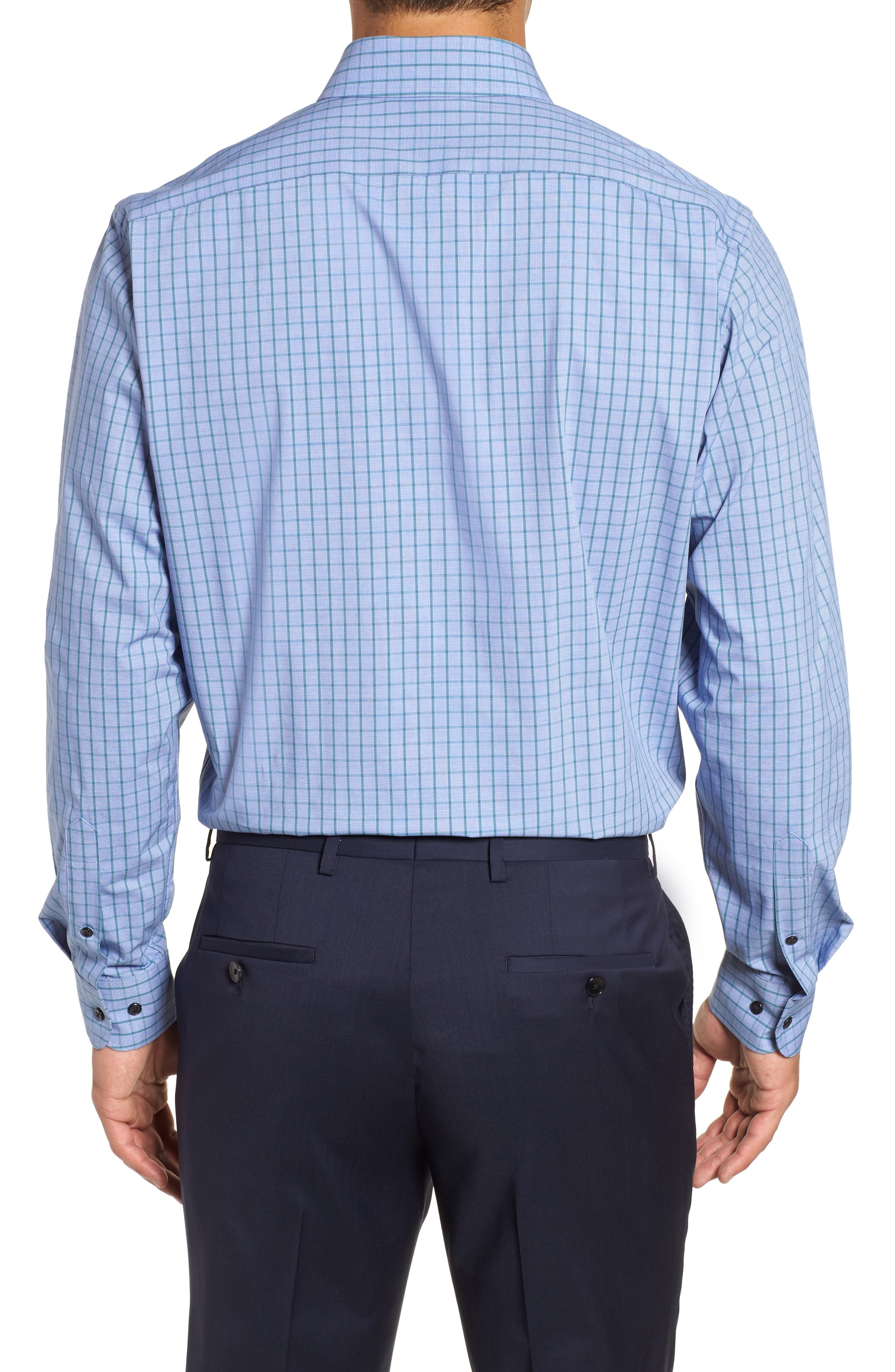 Tech-Smart Traditional Fit Stretch Check Dress Shirt,                             Alternate thumbnail 3, color,                             440