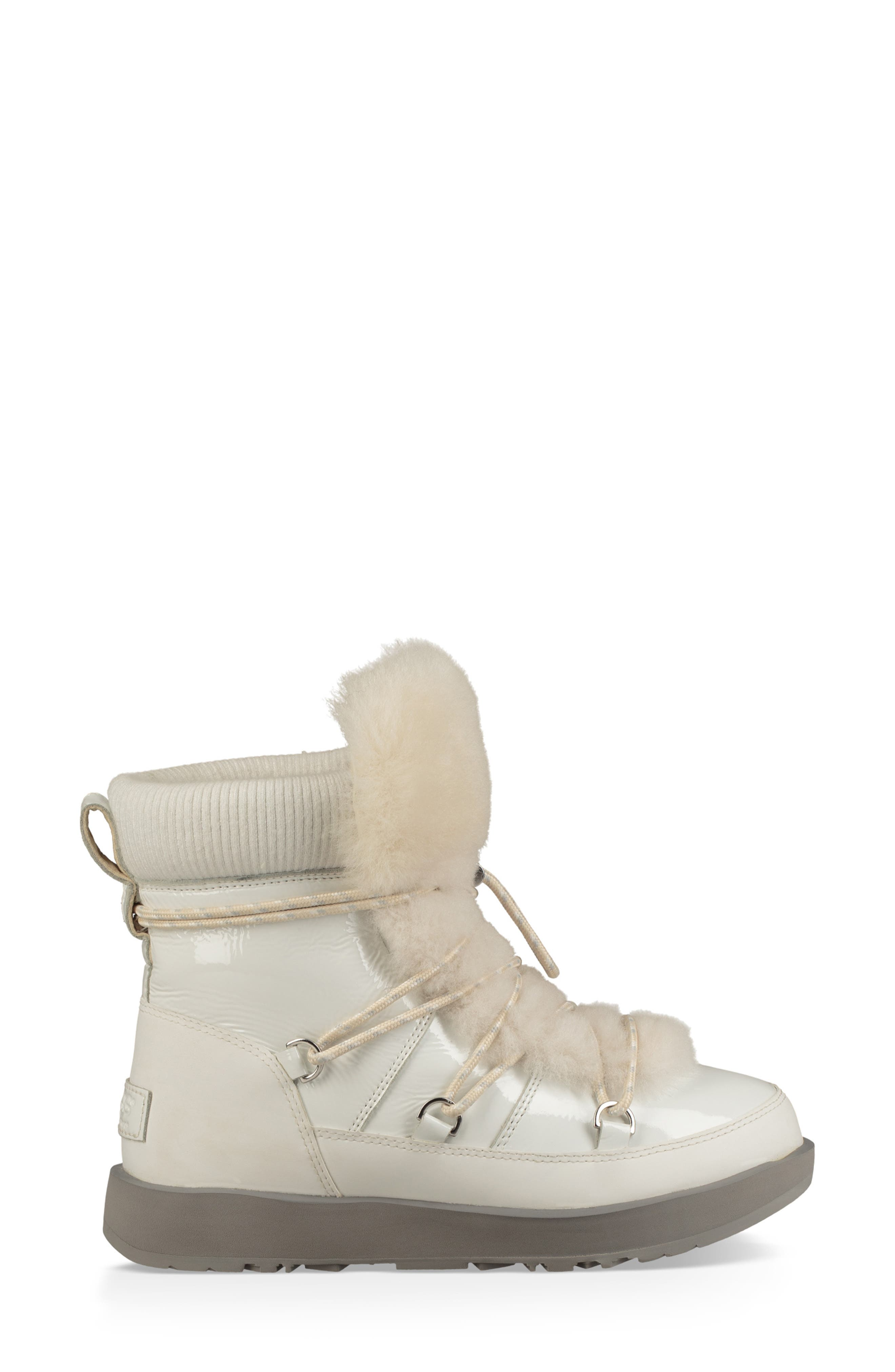 Highland Genuine Shearling Waterproof Bootie,                             Alternate thumbnail 3, color,                             WHITE LEATHER