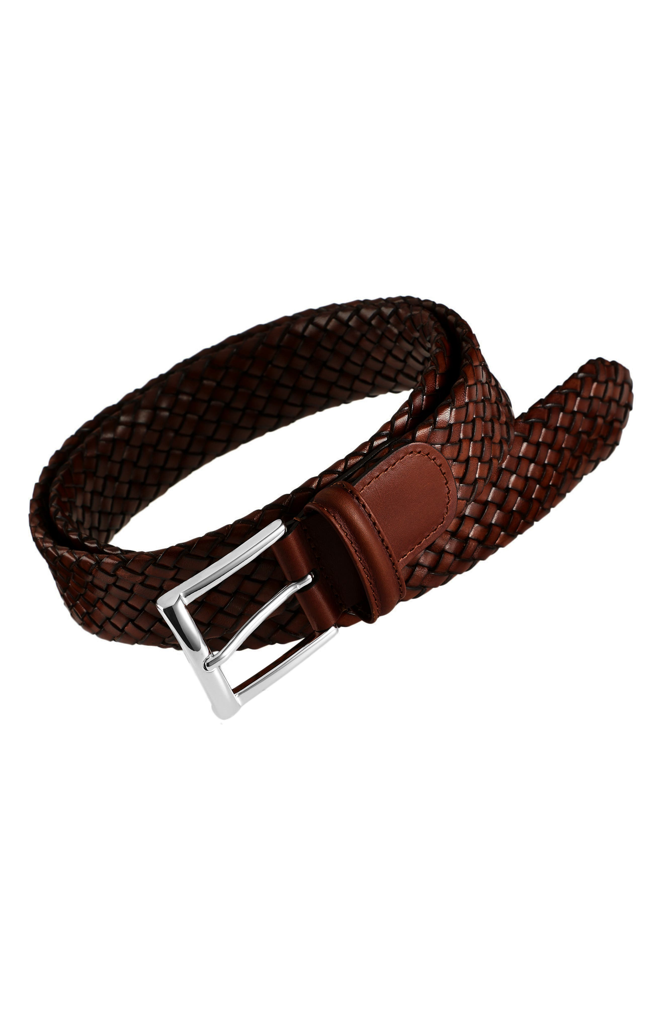 Woven Leather Belt,                             Main thumbnail 1, color,                             BROWN